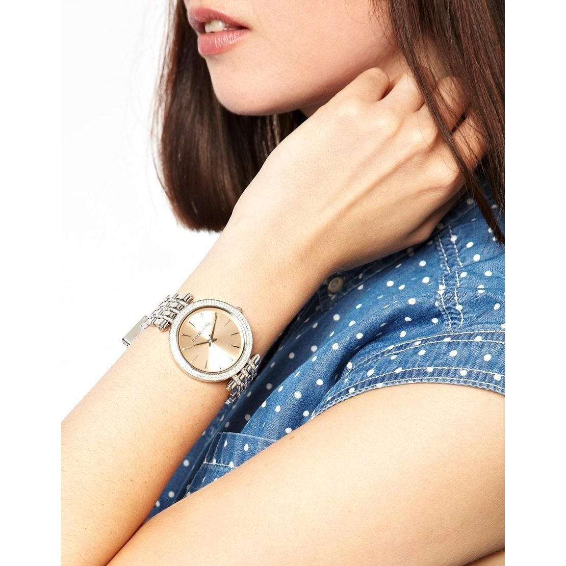 31b5ae0bd886 Shop Michael Kors Women s Darci MK3218 Silvertone Stainless Steel Quartz  Watch with Brown Dial - Free Shipping Today - Overstock - 9183458