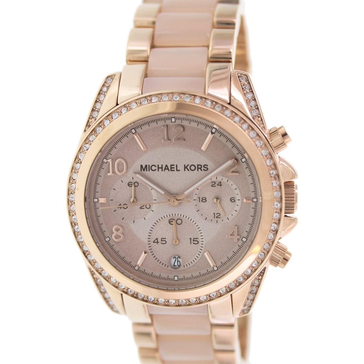 58f464c87073 Shop Michael Kors Women s MK5943 Blair Rose Goldtone Glitz Chronograph Watch  - Free Shipping Today - Overstock - 9188760