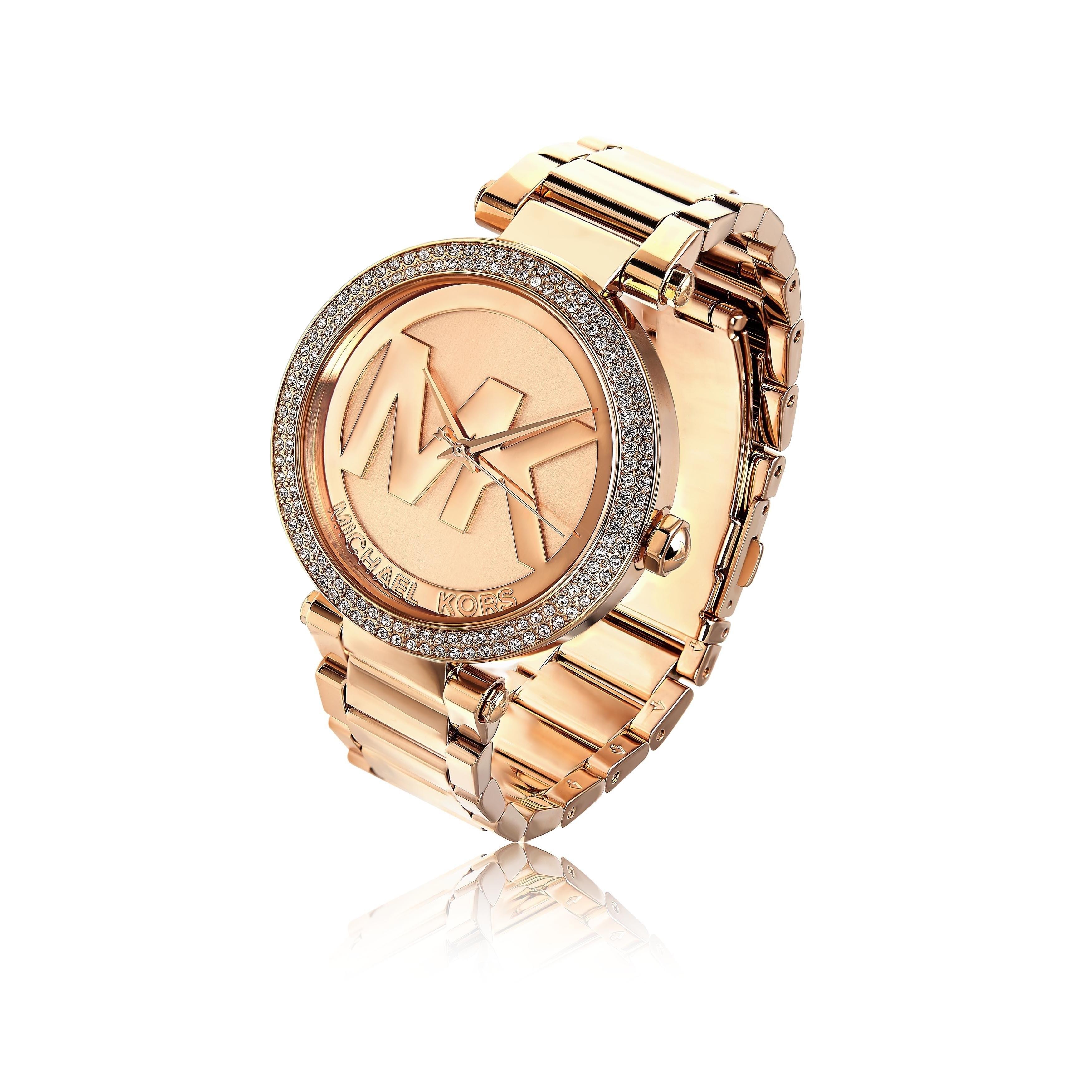 19f820745f44 Shop Michael Kors Women s MK5865  Parker  Logo Dial Rosetone Watch - Free  Shipping Today - Overstock - 9189434