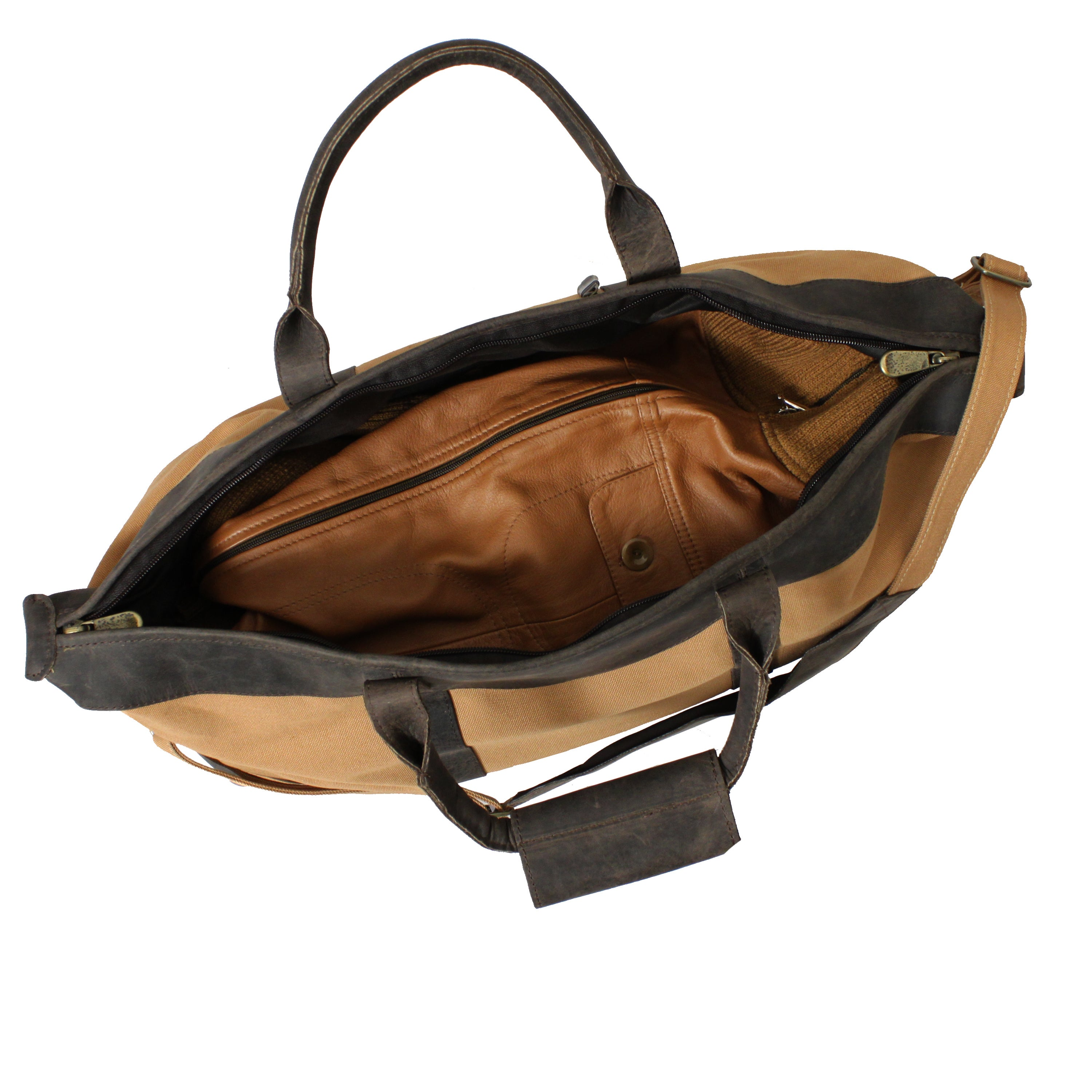 c6b4727fd2 Shop Utah 22-inch Leather  Canvas Lightweight Carry On Duffel Bag - Free  Shipping Today - Overstock - 9189646