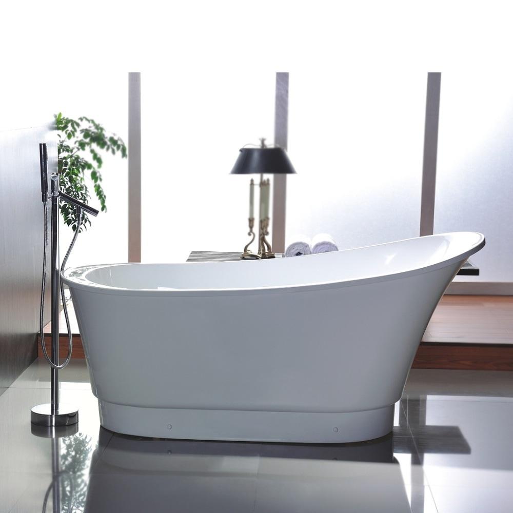 Shop Freestanding 67-inch Slipper Style White Acrylic Bathtub - Free ...