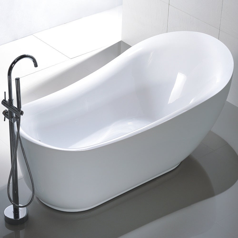 Shop Freestanding 71-inch Slipper Style White Acrylic Bathtub - Free ...