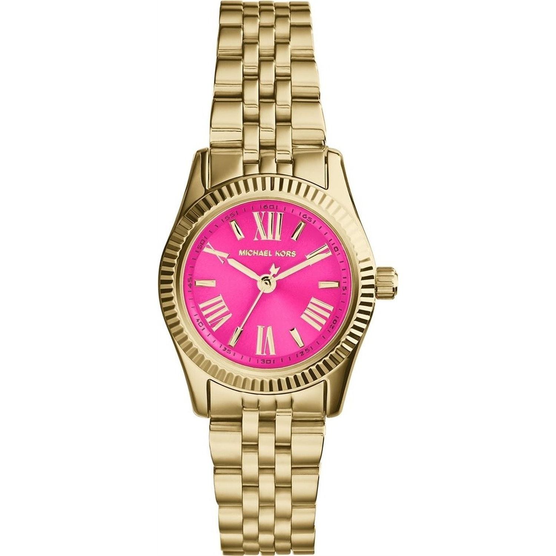 Shop Michael Kors Women\'s Mini Lexington Pink/ Goldtone Watch - Free ...