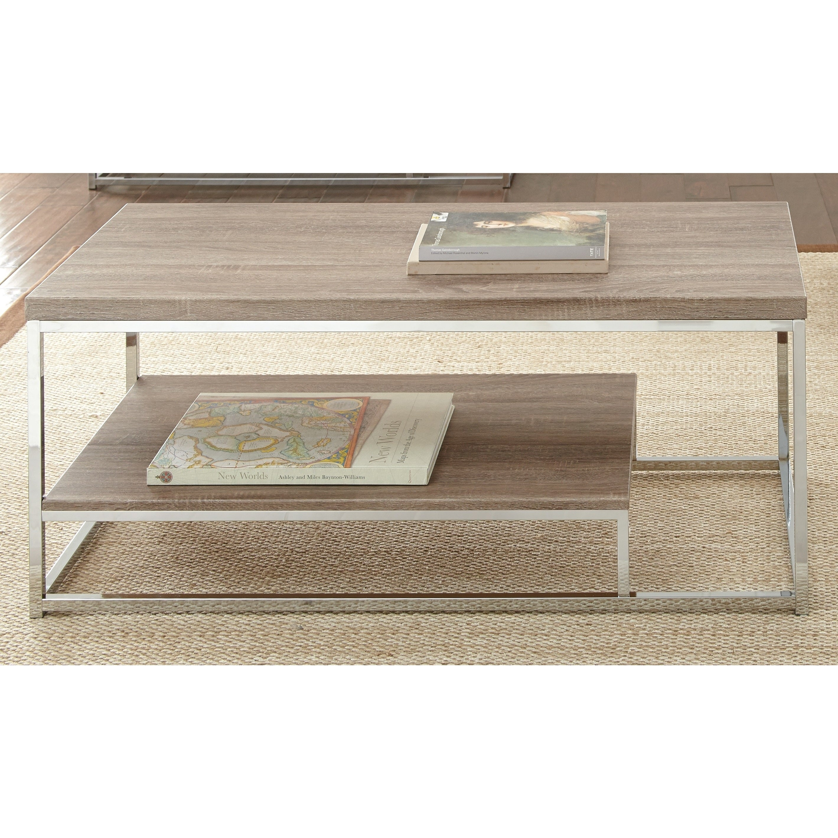 Lennox Chrome and Faux Wood Coffee Table by Greyson Living Free