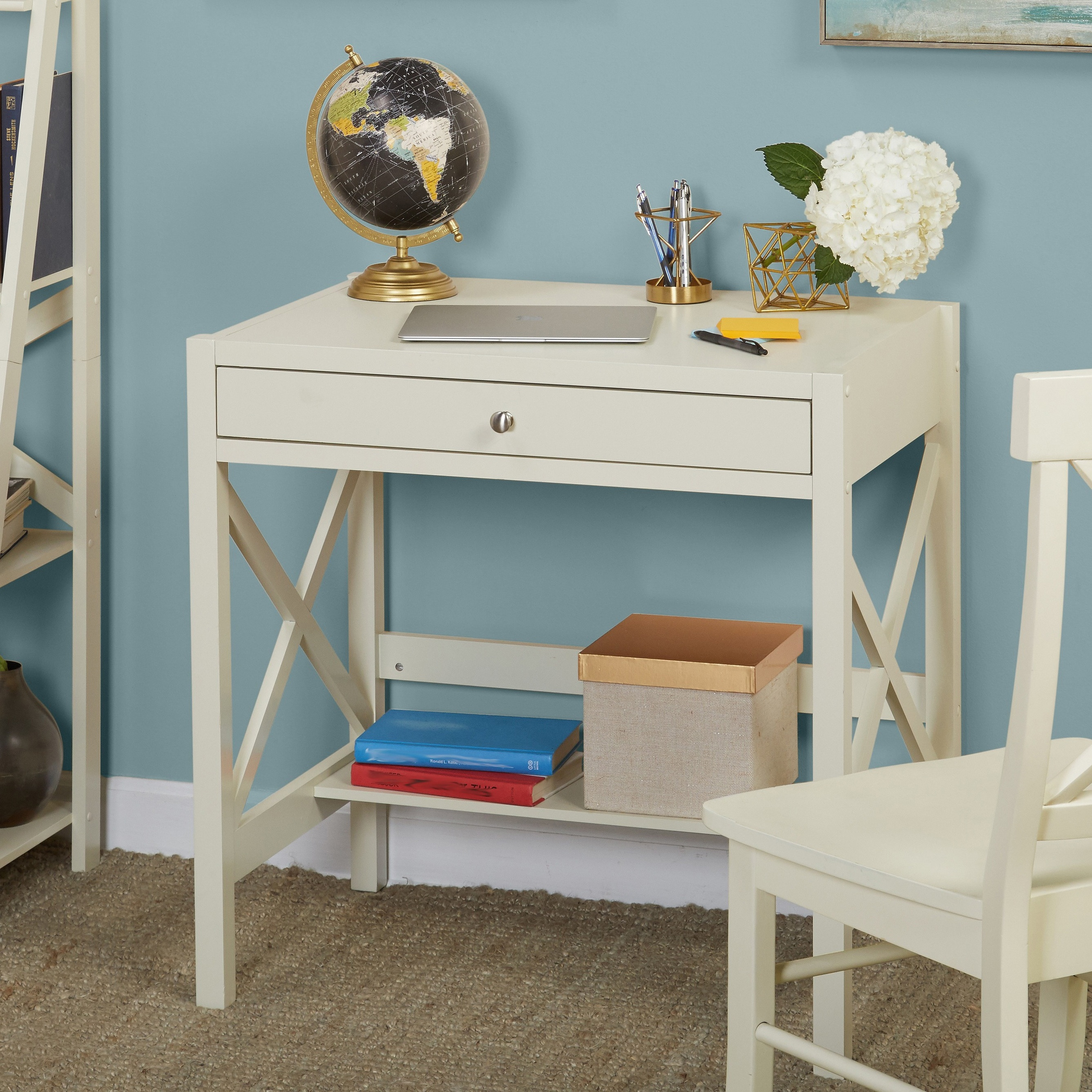 shop simple living antique white x desk on sale free shipping rh overstock com plain white desk