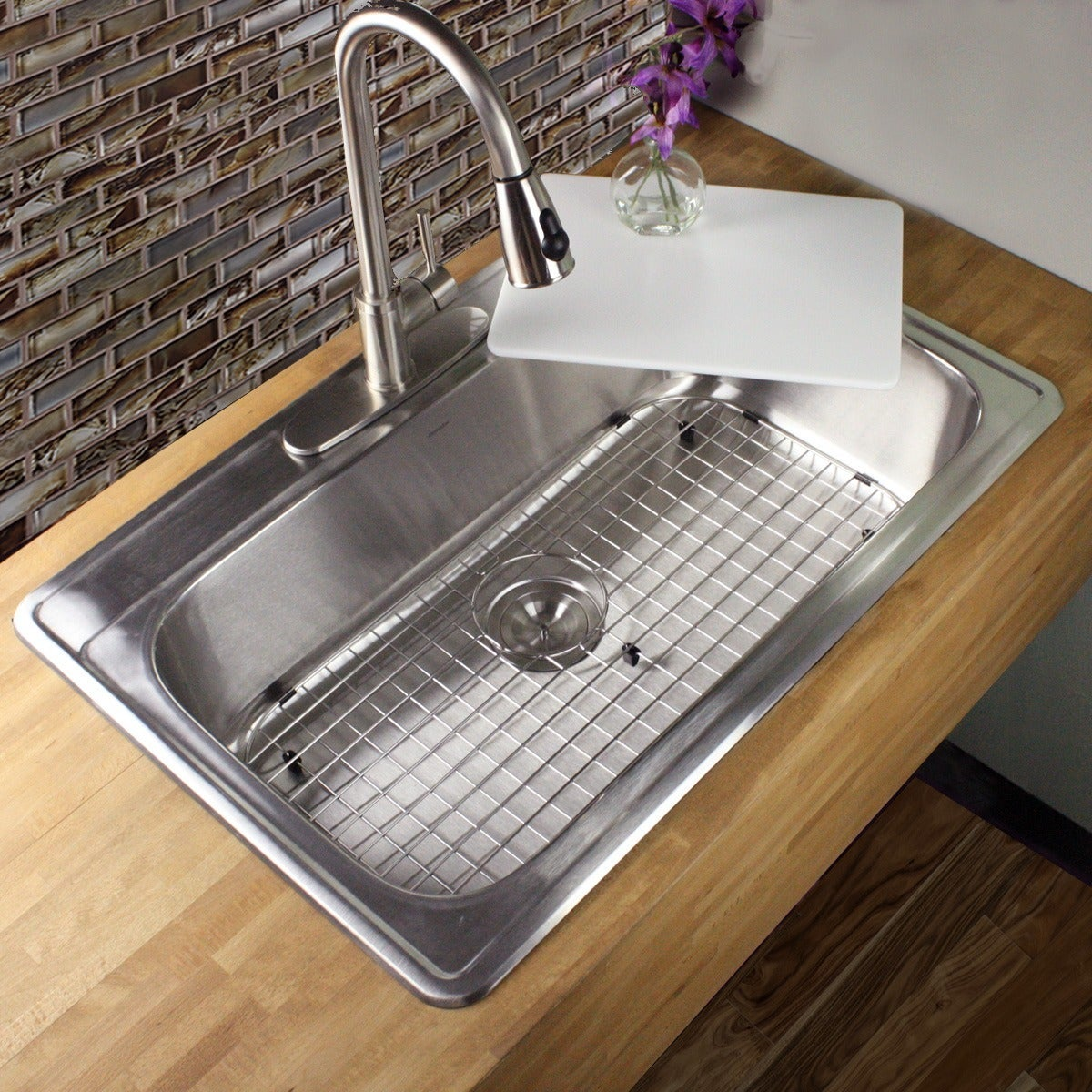 Shop 33 inch 18 gauge stainless steel drop in single bowl kitchen sink with cutting board drain and grid free shipping today overstock com 9202732