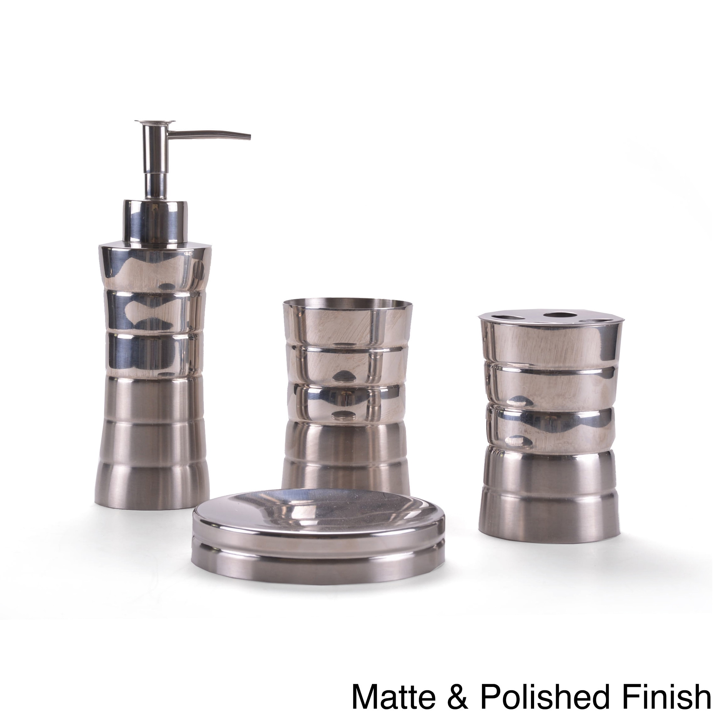 Shop Stainless Steel Bath Accessory 4-piece Set - On Sale - Free ...