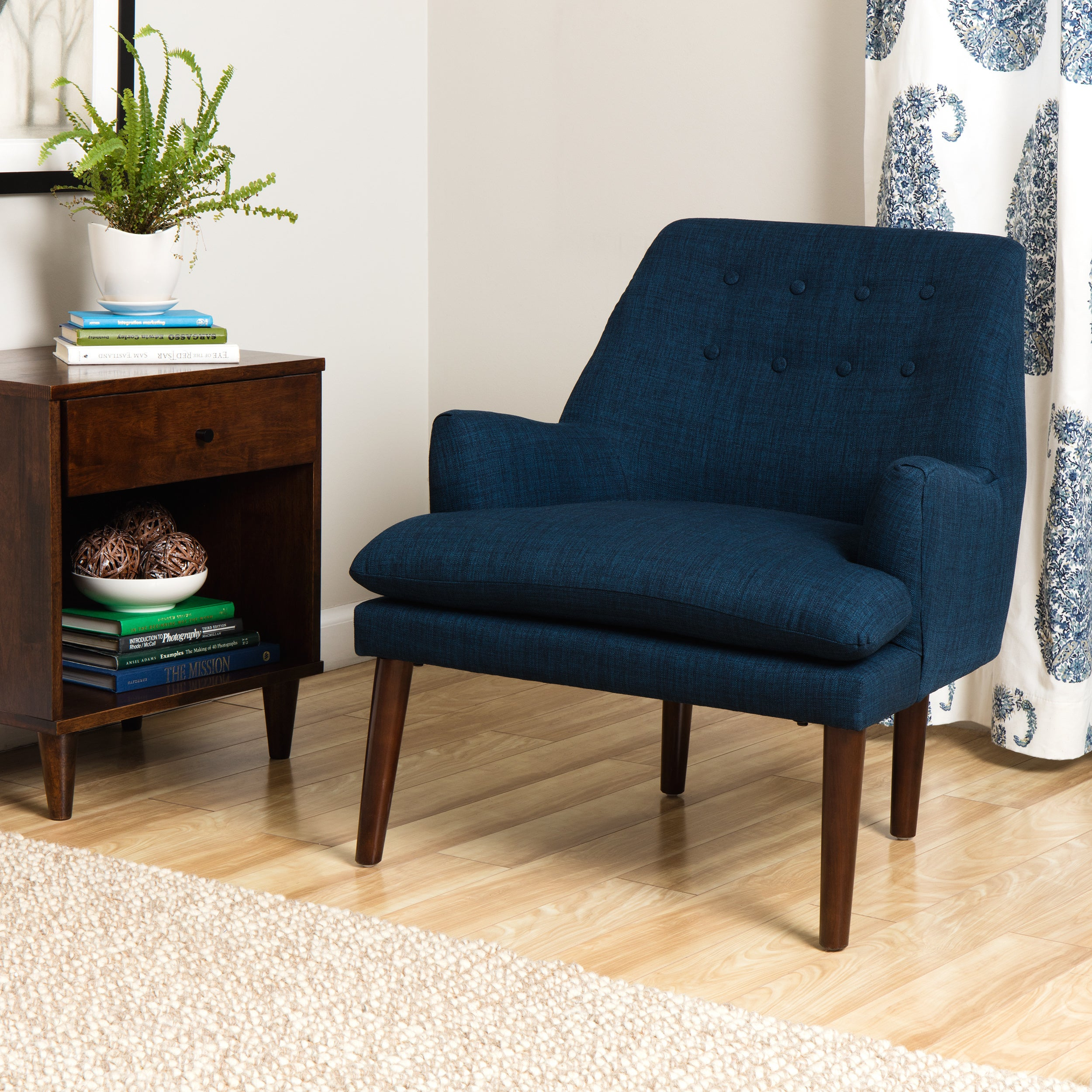 Shop Taylor Mid Century Navy Blue Tufted