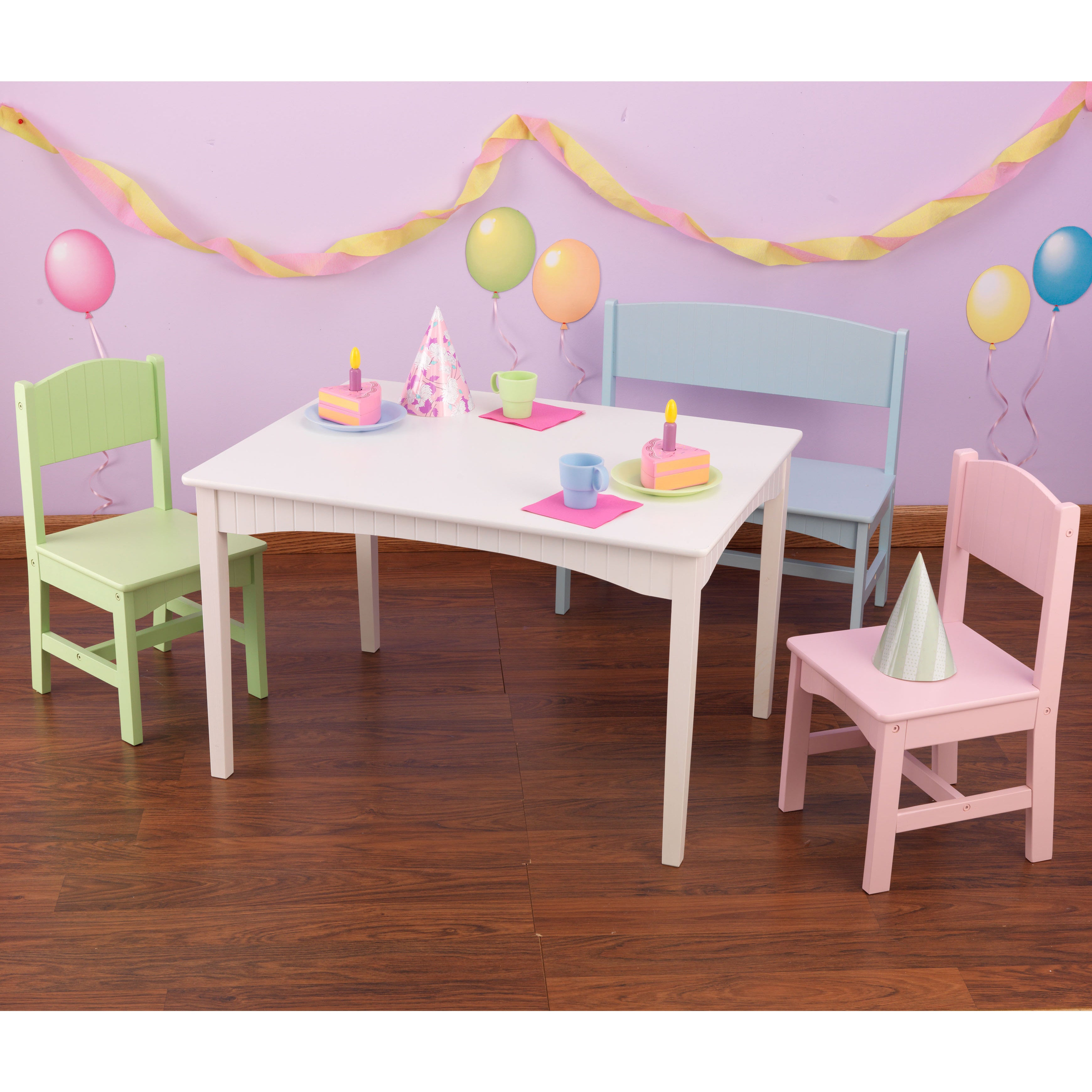 KidKraft Nantucket 4-piece Table, Bench, and Chairs Set - Free ...