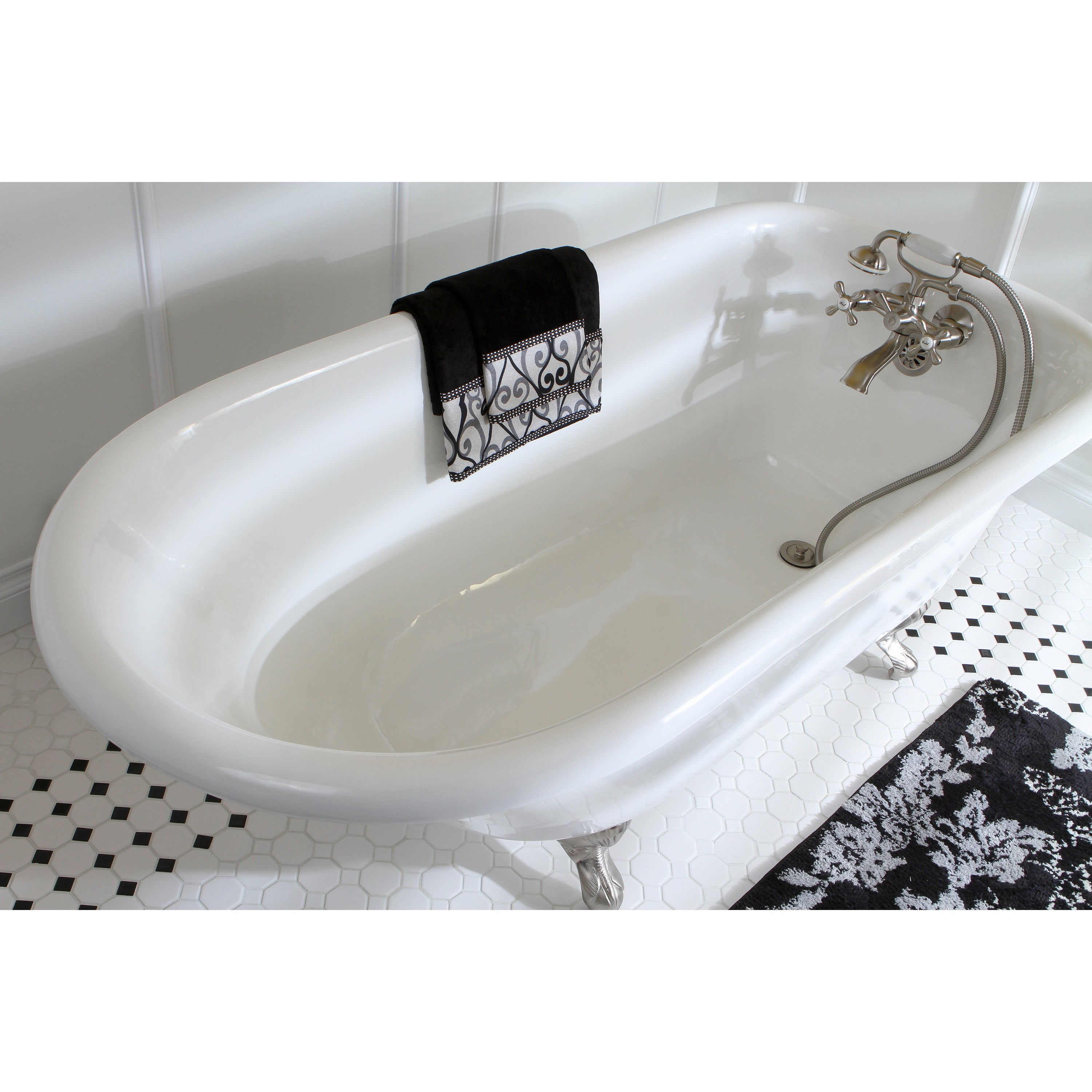 Shop Classic Roll Top 66-inch Cast Iron Clawfoot Tub with Tub Wall ...