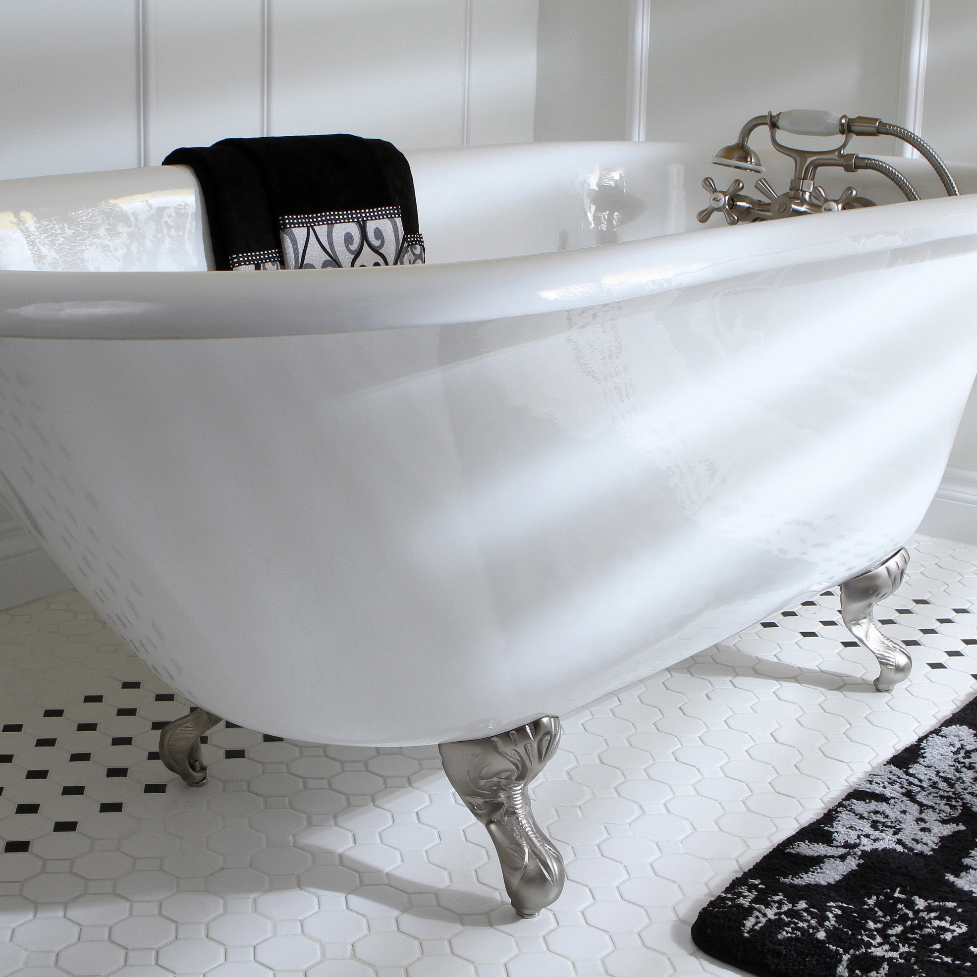Shop Classic Roll Top Petite 54-inch Cast Iron Clawfoot Tub with Tub ...