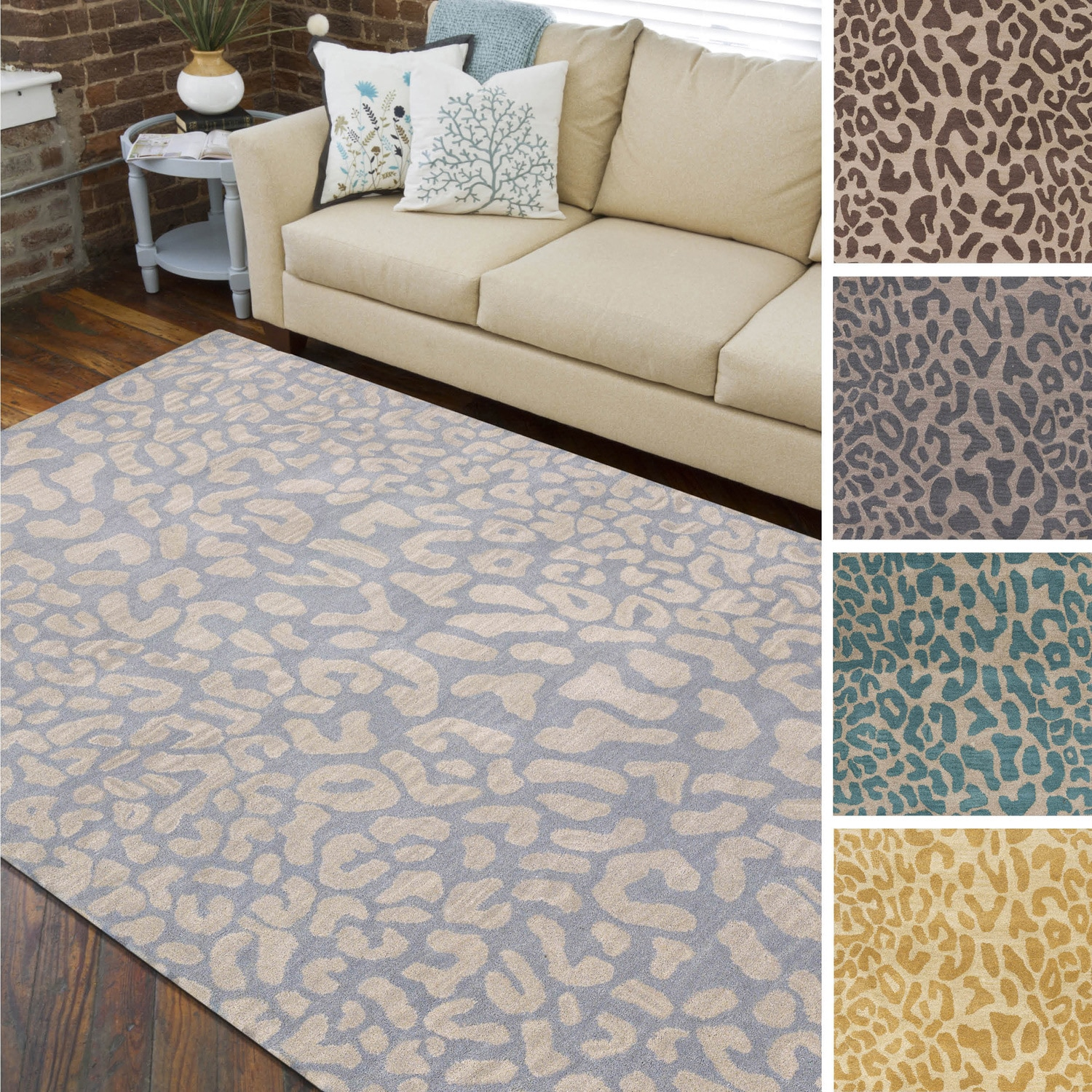 Hand-tufted Jungle Animal Print Wool Area Rug - 9\' x 12\'
