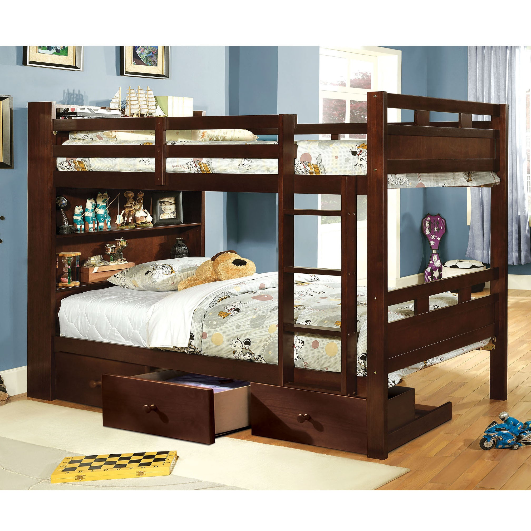 Furniture Of America Chessin Dark Walnut Bunk Bed With Built In Bookcase Headboard On Free Shipping Today 9206909