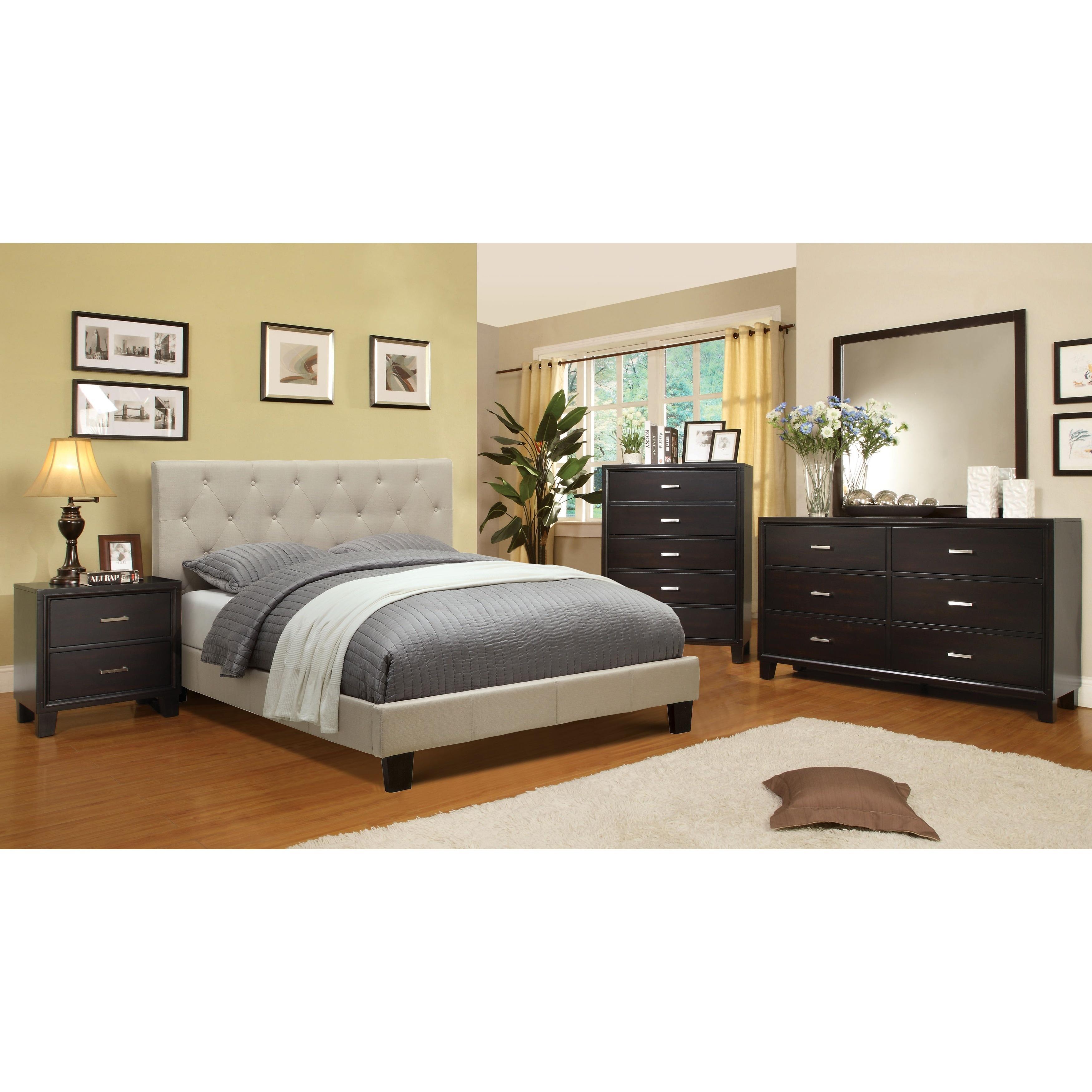 Furniture of America Perdella 4-piece Ivory Low Profile Bedroom ...