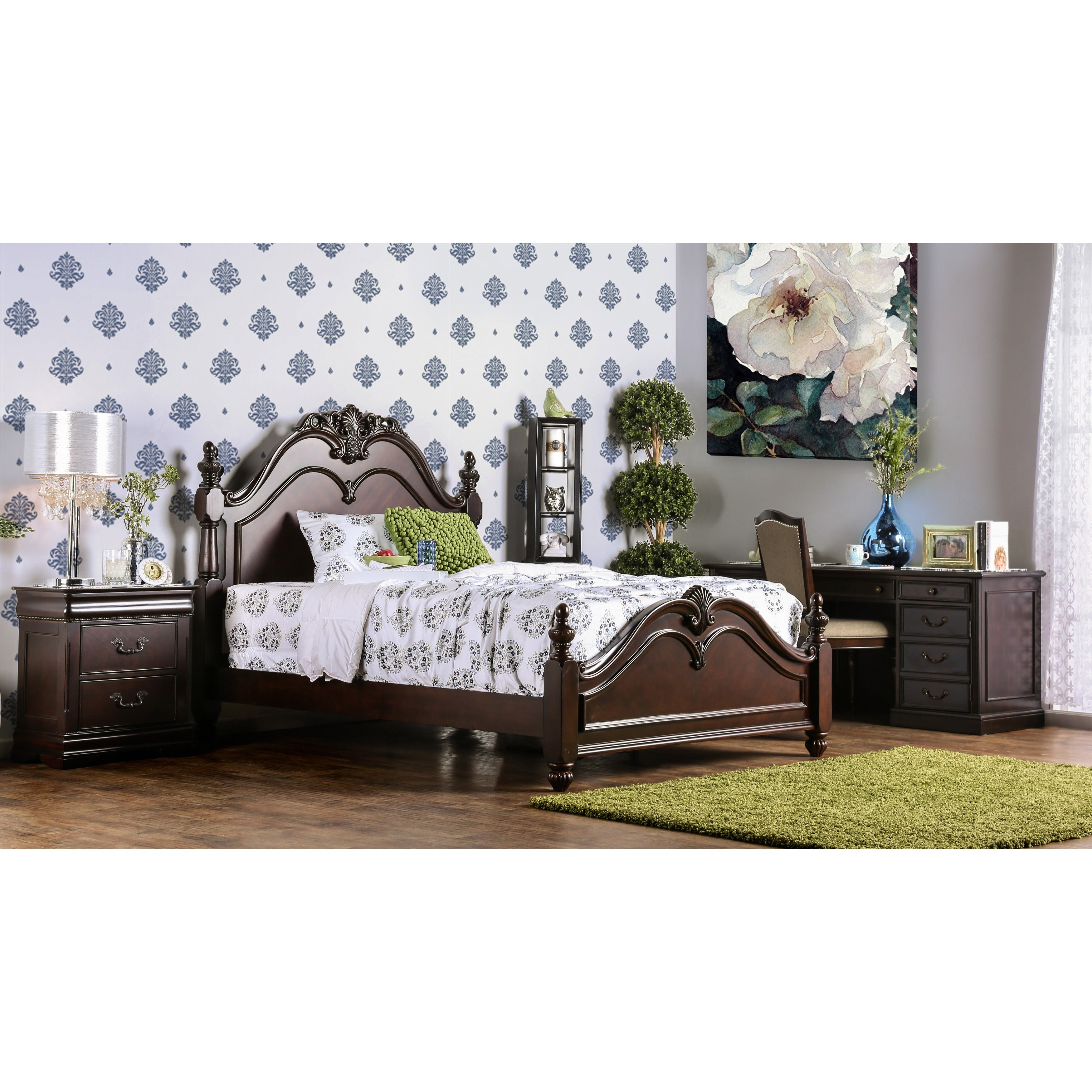 Shop Furniture of America Bastillina English Style Cherry Four Post ...