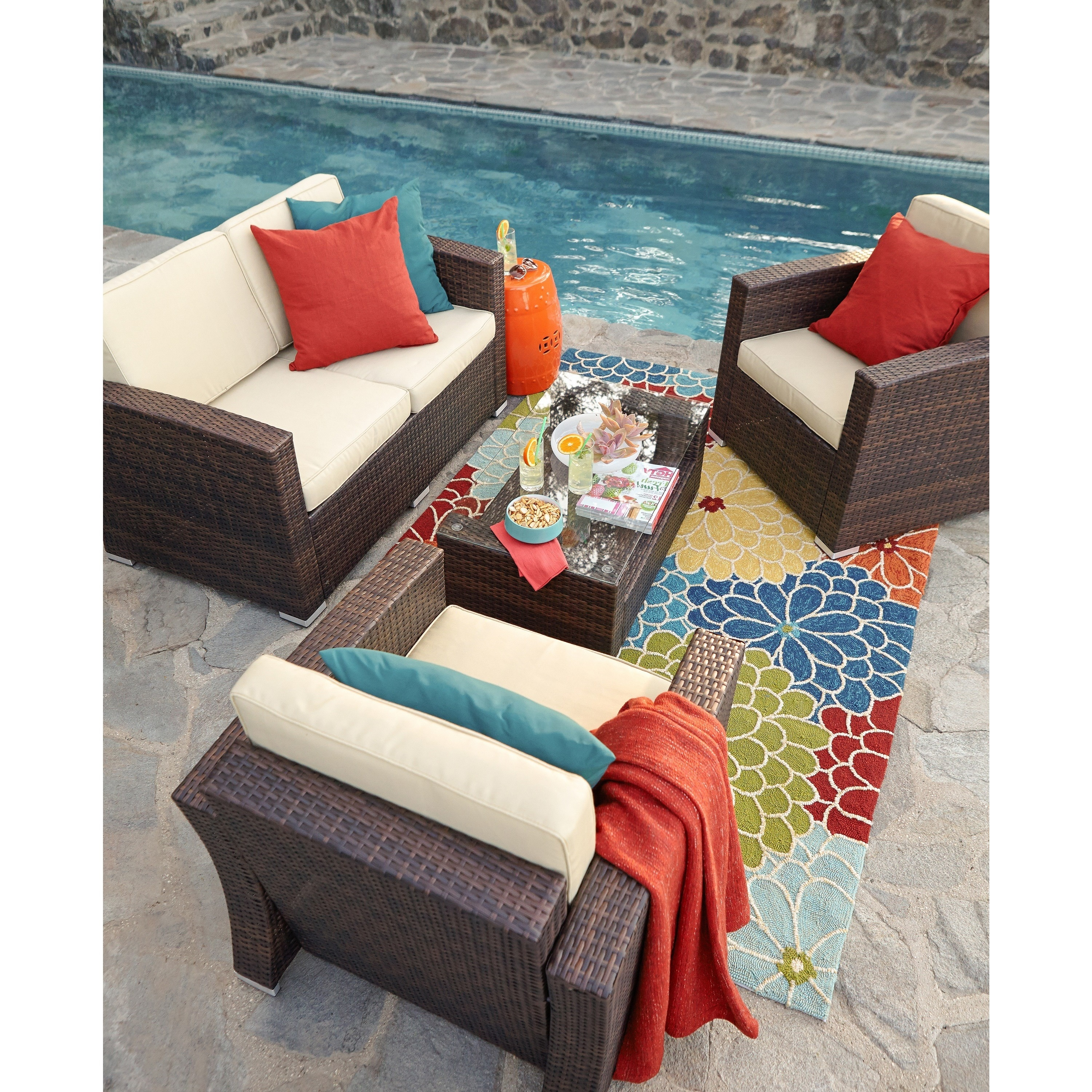 The Hom Bahia 4 Piece Outdoor Wicker Conversation Set Free Shipping Today 16377860