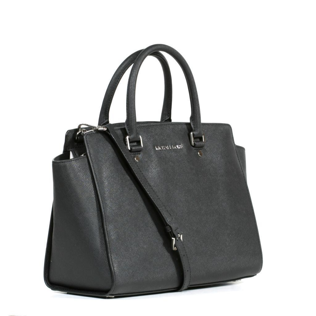 57e121a944c5 Shop MICHAEL Michael Kors  Selma  Large Black Satchel with Silver Hardware  - Free Shipping Today - Overstock - 9207154