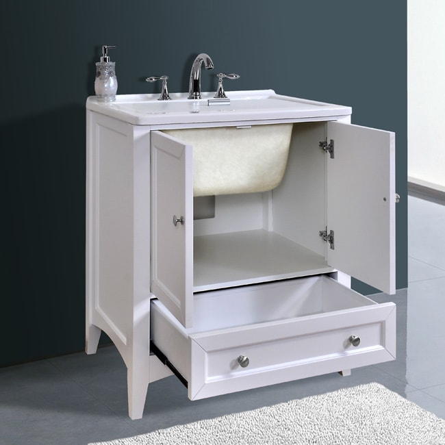 Shop Stufurhome 30 Inch White Laundry Utility Sink   Free Shipping Today    Overstock.com   9207432