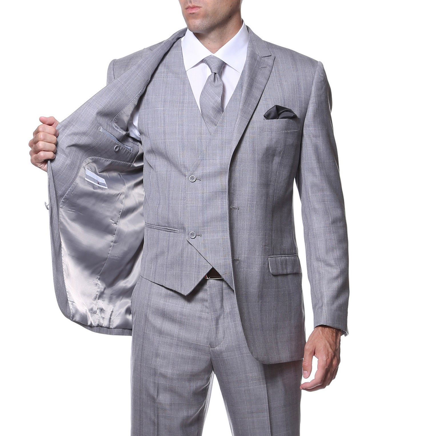 b1b80c93b49f Shop Zonettie by Ferrecci Men's Slim Fit Grey and Silver Plaid  Double-breasted 3-piece Vested Suit - Ships To Canada - Overstock - 9214704