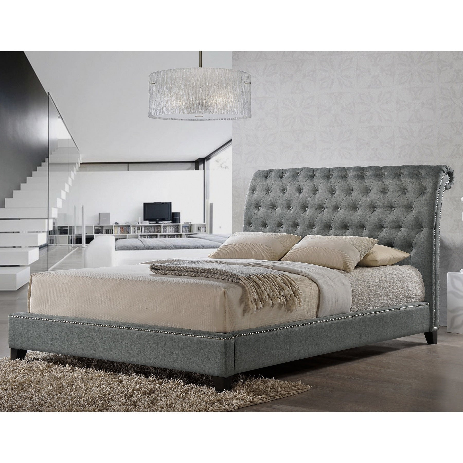 Shop jazmin tufted gray modern bed with upholstered headboard free shipping today overstock 9214889