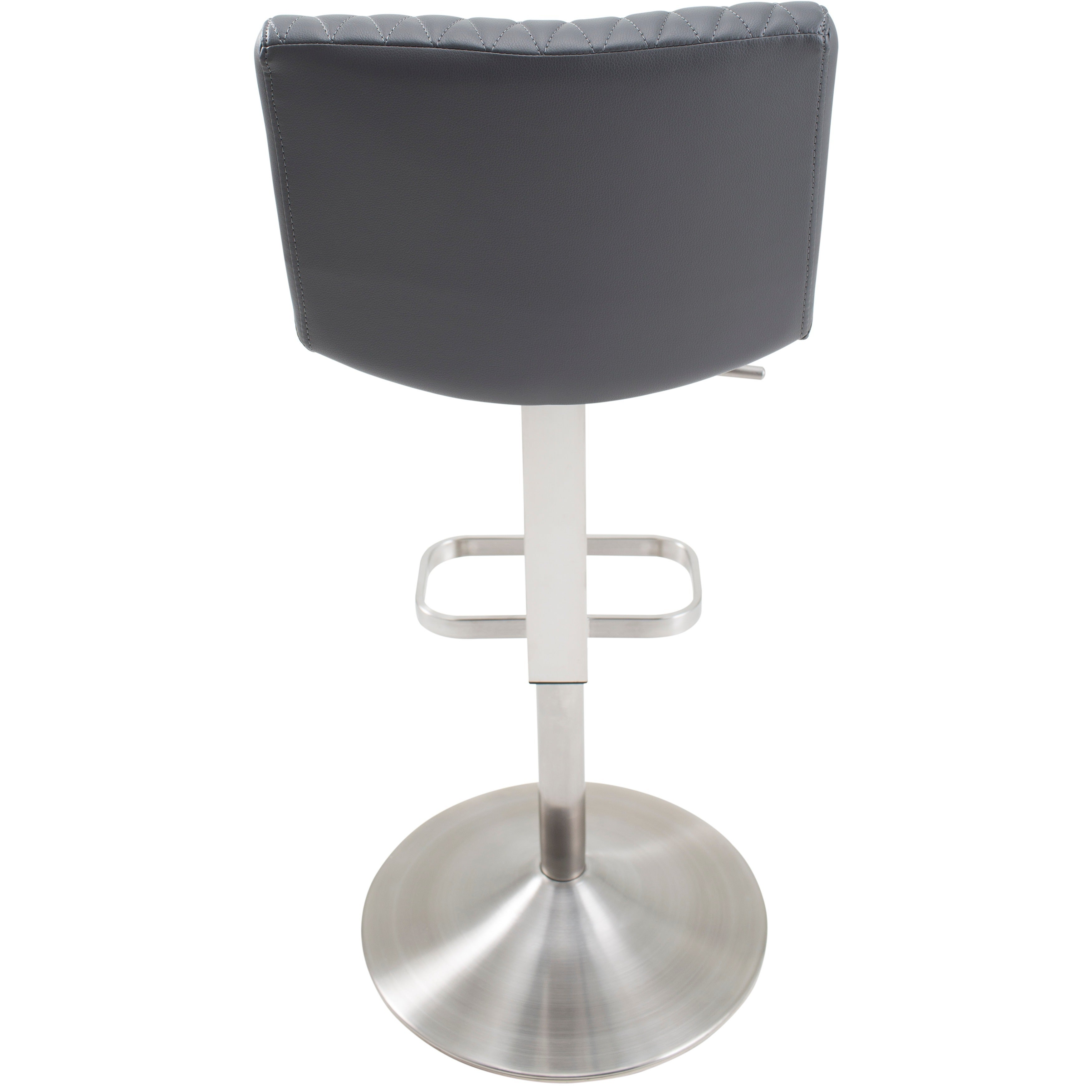Shop MIX Diamond Patterned Leatherette/Brushed Stainless Steel  Adjustable Height Swivel Bar Stool With Round Base   Free Shipping Today    Overstock.com   ...