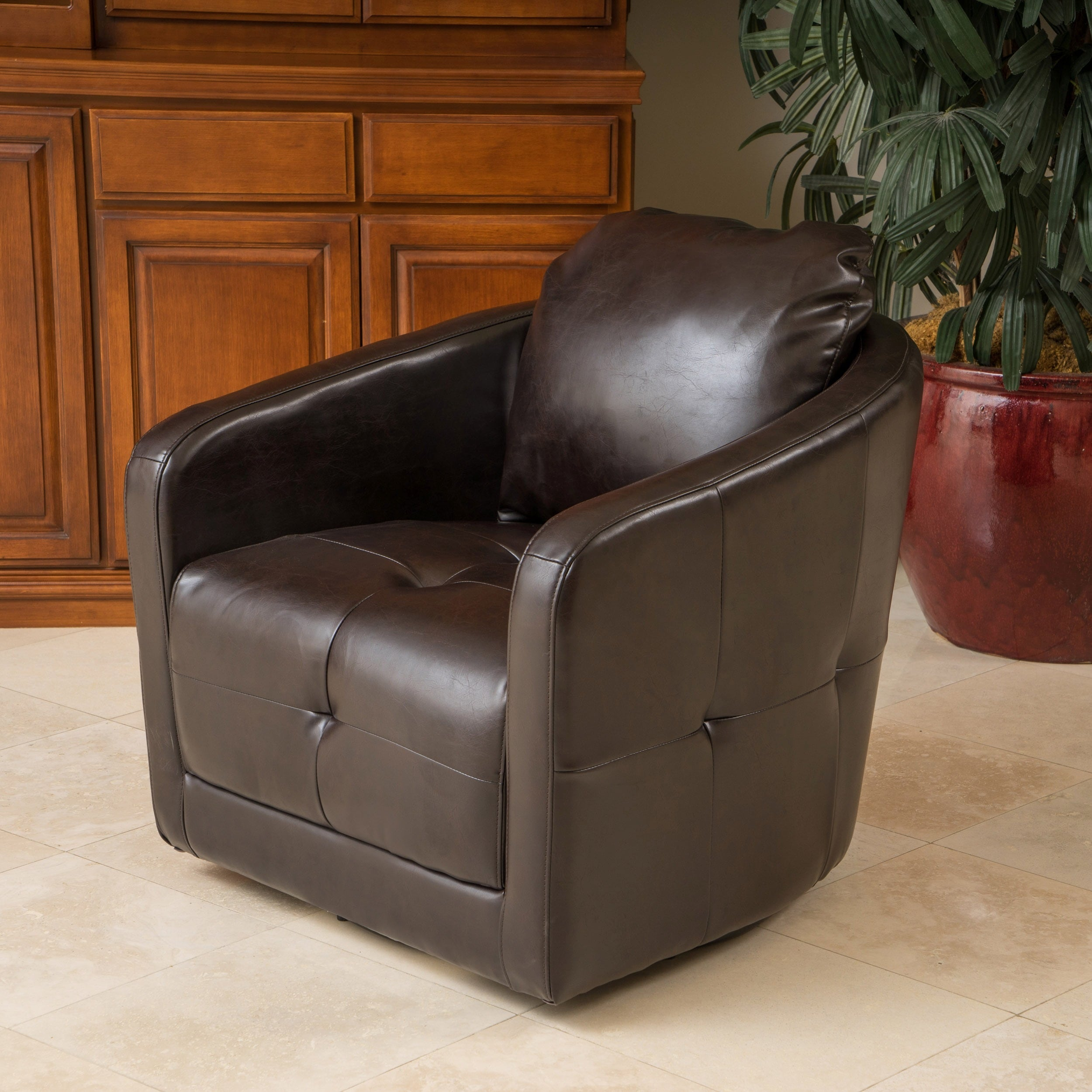 Concordia Leather Swivel Chair By Christopher Knight Home   Free Shipping  Today   Overstock.com   16385171