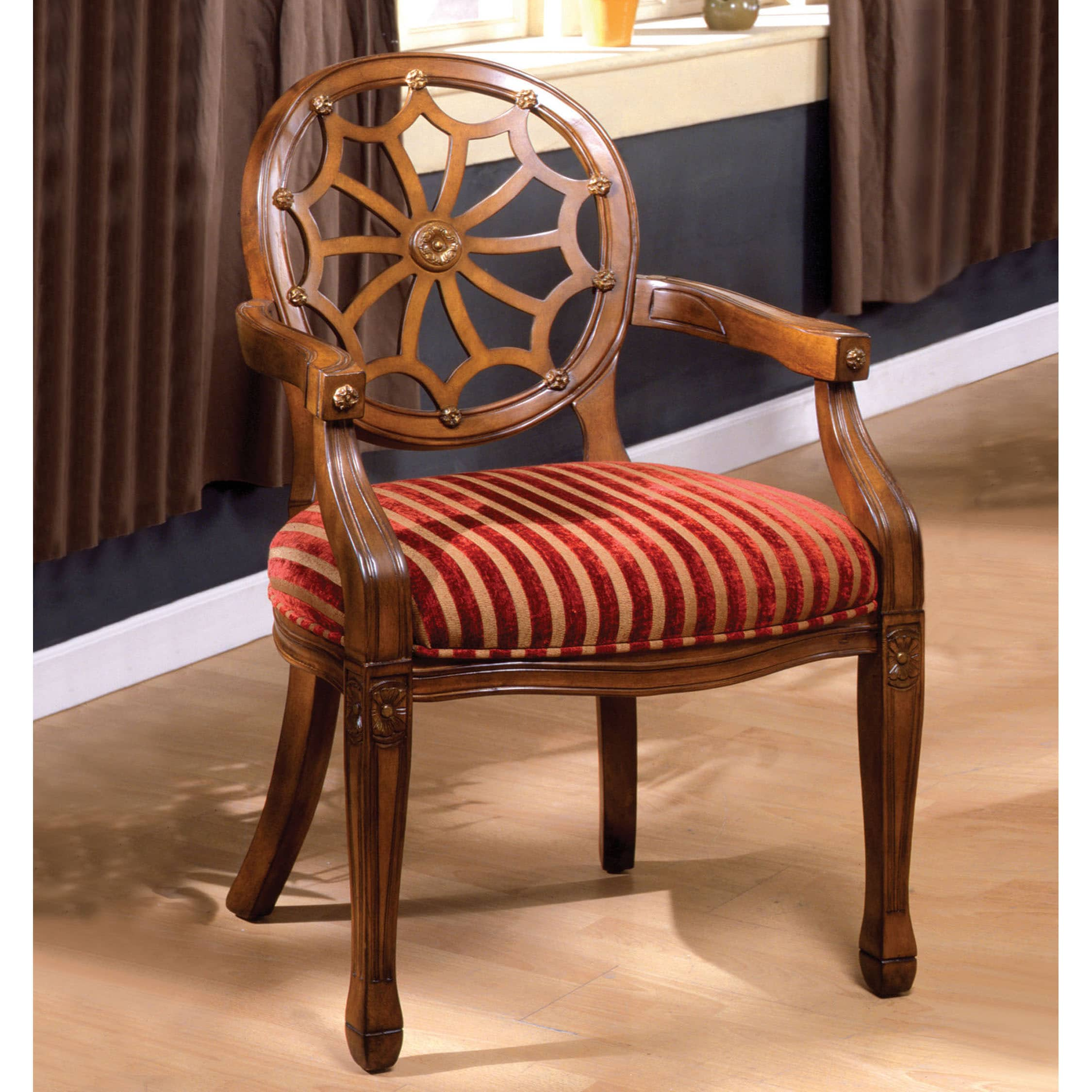 Shop Furniture Of America Fidelia Carved Antique Oak Accent Chair   On Sale    Free Shipping Today   Overstock.com   9215800