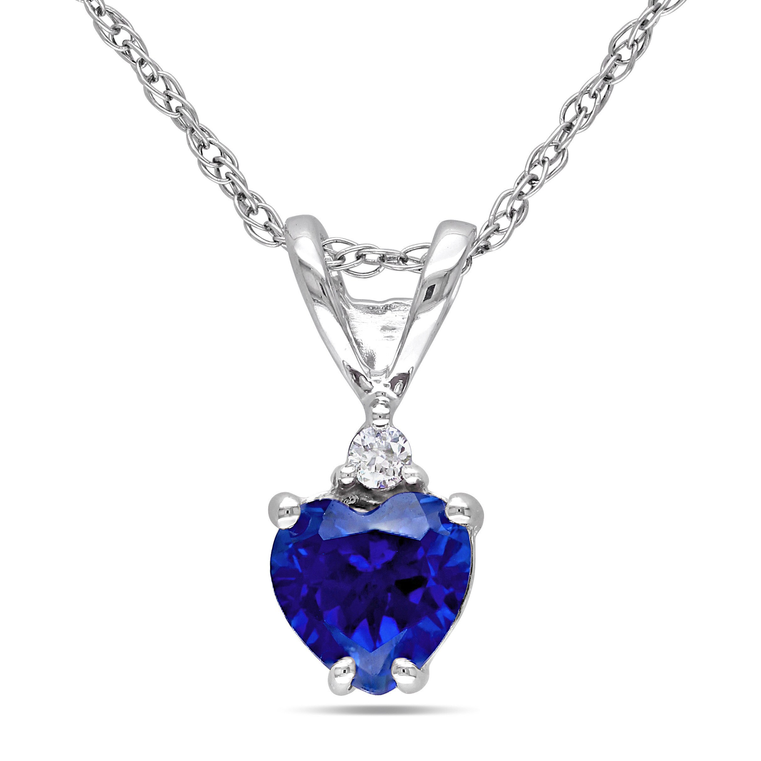 Shop miadora 10k white gold created blue sapphire and diamond accent shop miadora 10k white gold created blue sapphire and diamond accent heart necklace on sale free shipping today overstock 9215884 aloadofball Gallery