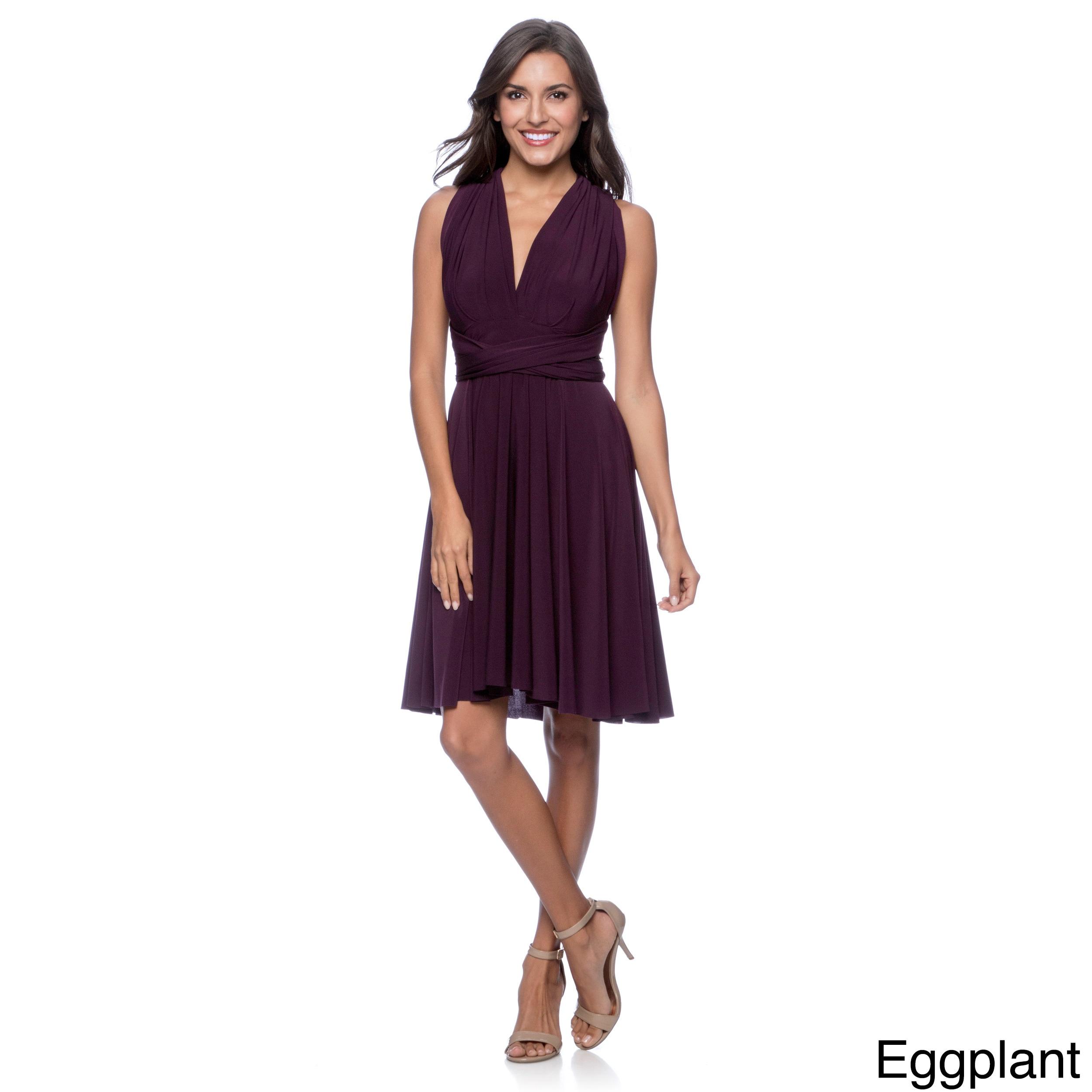 Women\'s Short Dress Convertible Wrap Cocktail Gown Multi Way ...