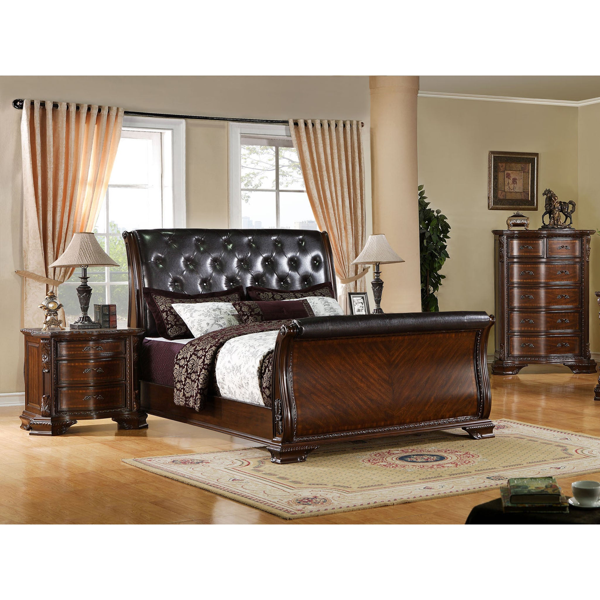 Furniture Of America Luxury Brown Cherry Leatherette Baroque Style Sleigh Bed Free Shipping Today 9216408