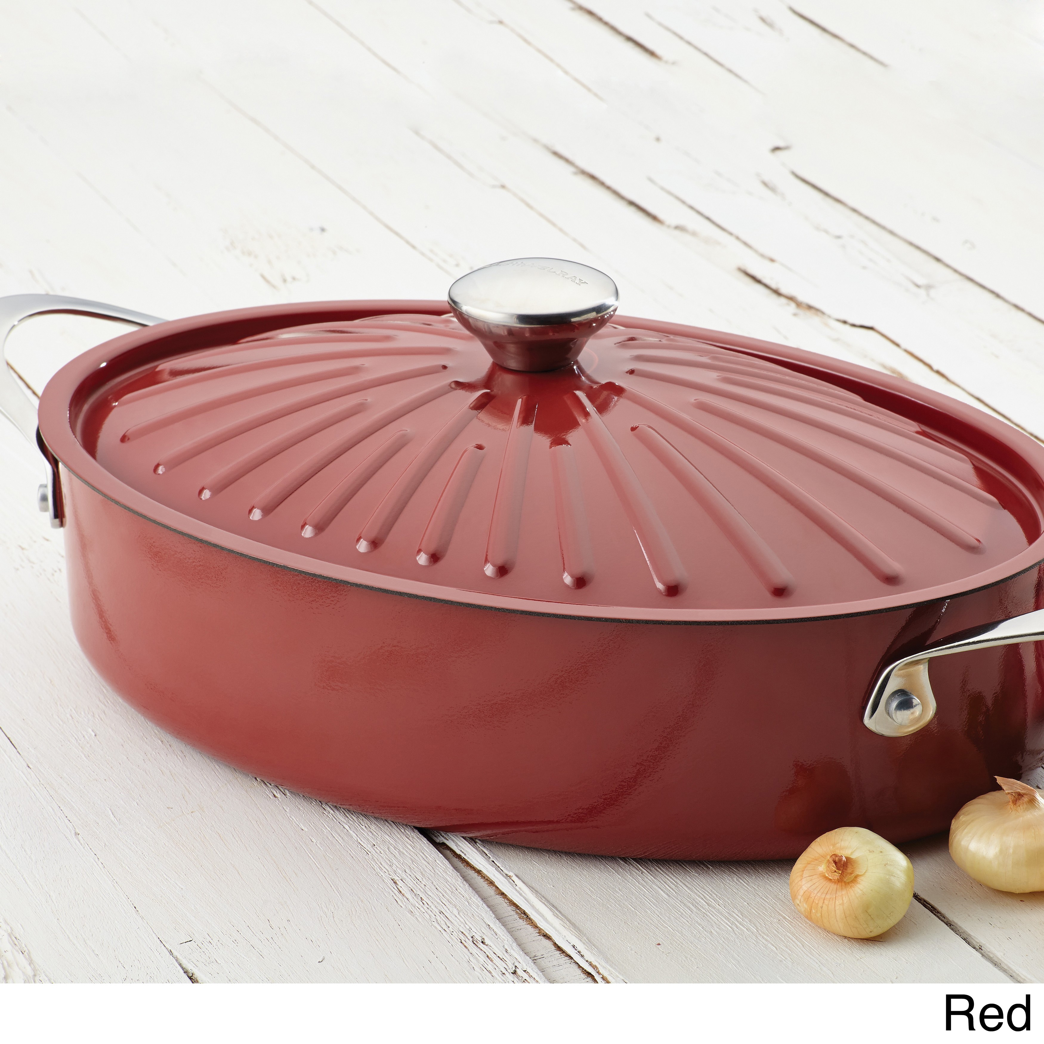Shop Rachael Ray Cucina Oven To Table Hard Enamel Nonstick 5 Quart Covered  Oval Sauteuse   Free Shipping Today   Overstock.com   9216687