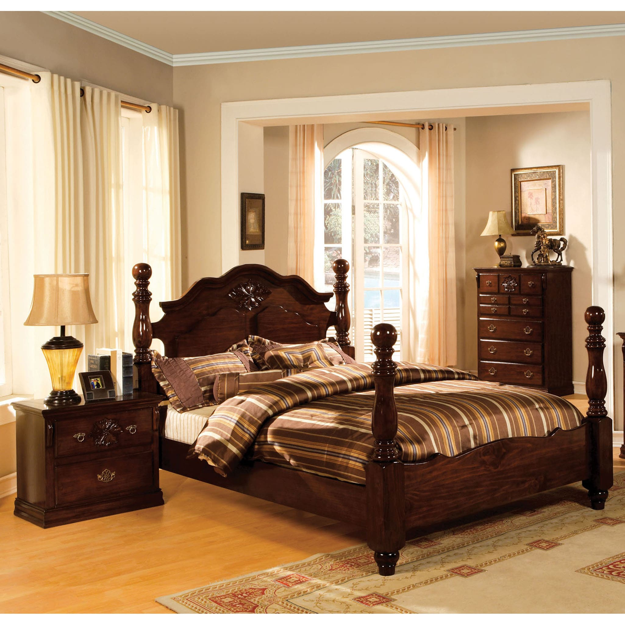 Shop Furniture Of America Weston Traditional Style Glossy Dark Pine Four  Poster Bed   Free Shipping Today   Overstock.com   9218879