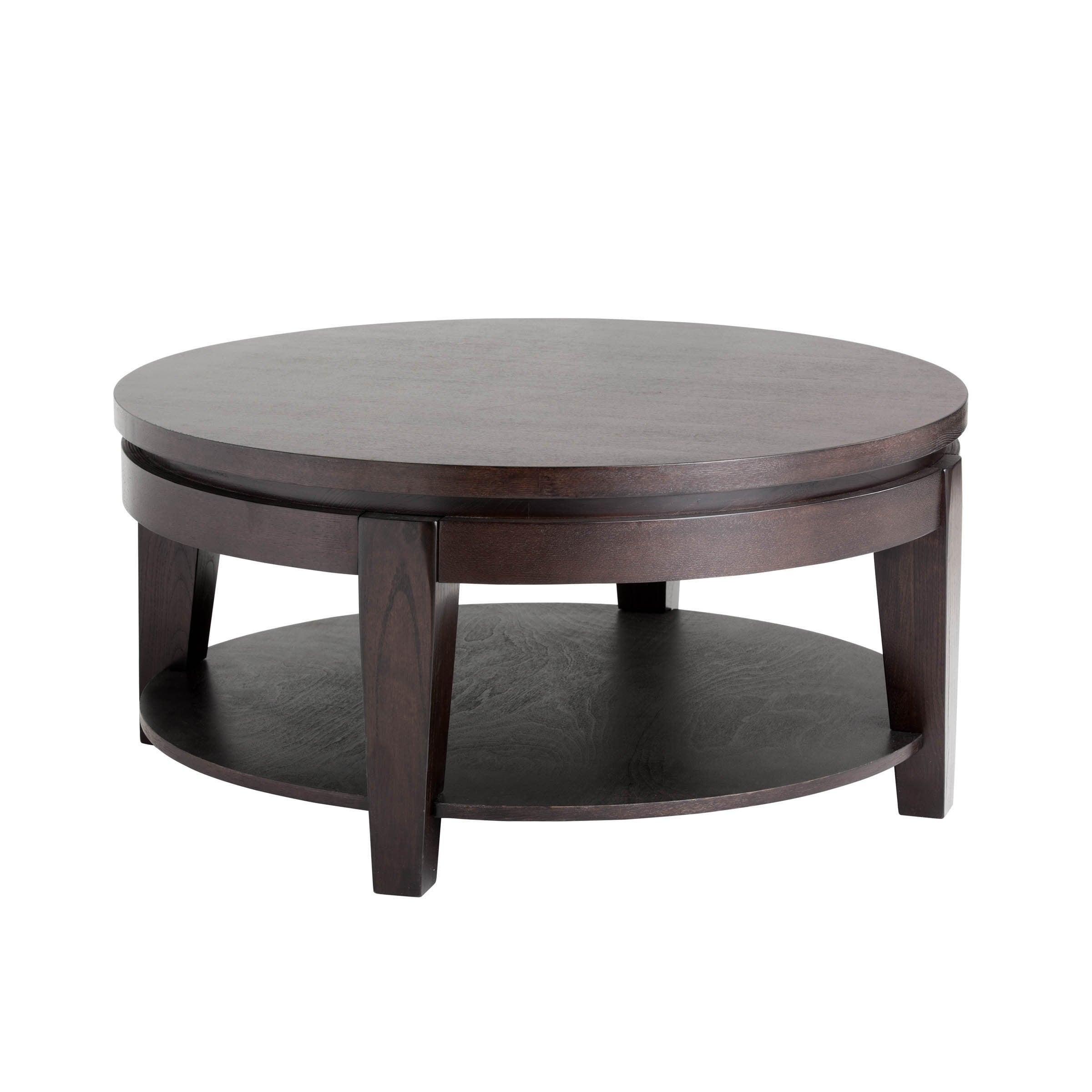 Shop Sunpan U0027Ikonu0027 Asia Espresso Round Coffee Table With Shelf   Free  Shipping Today   Overstock.com   9219371