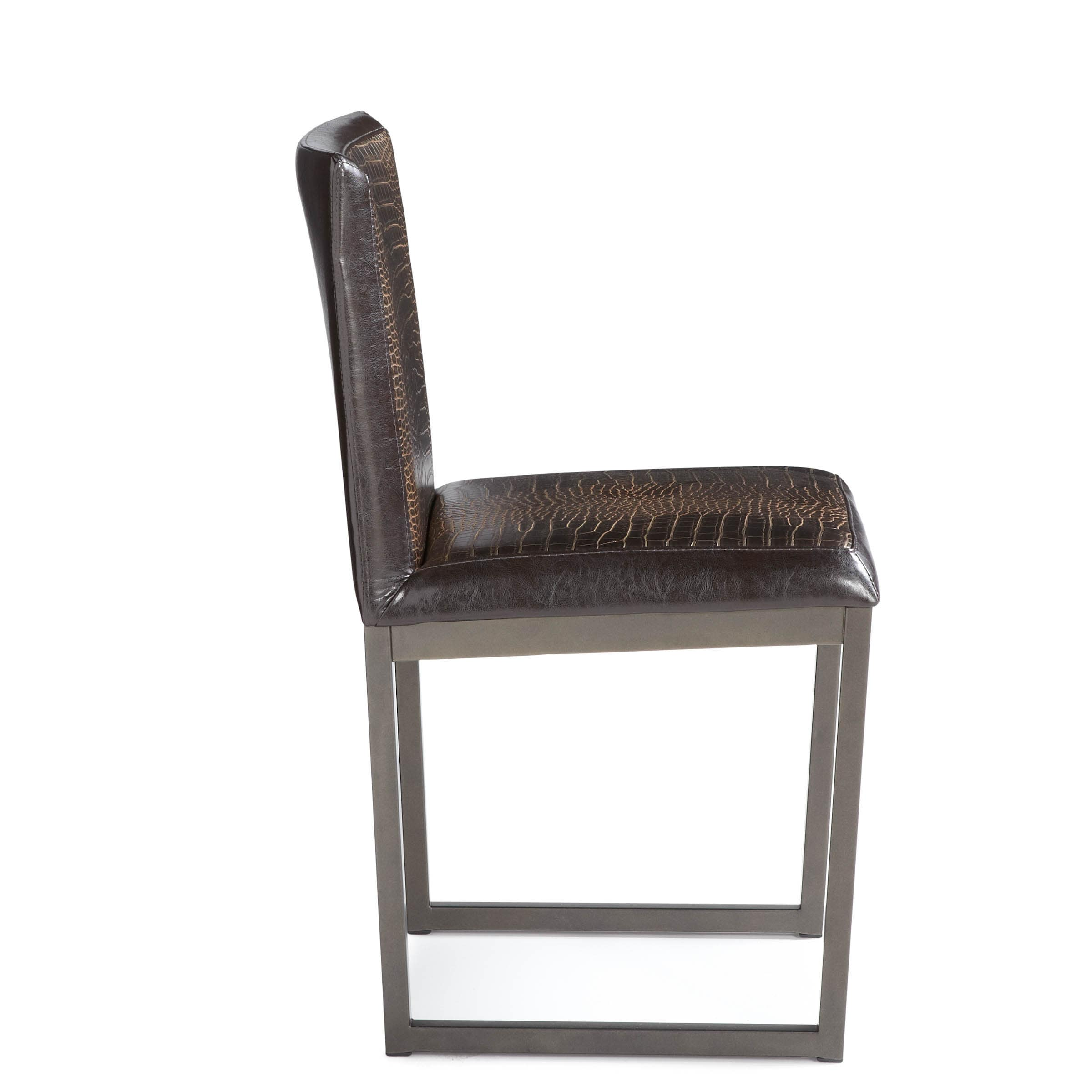Shop Sunpan Porto Faux Crocodile Leather Dining Chairs (Set Of 2)   On Sale    Free Shipping Today   Overstock.com   9219478