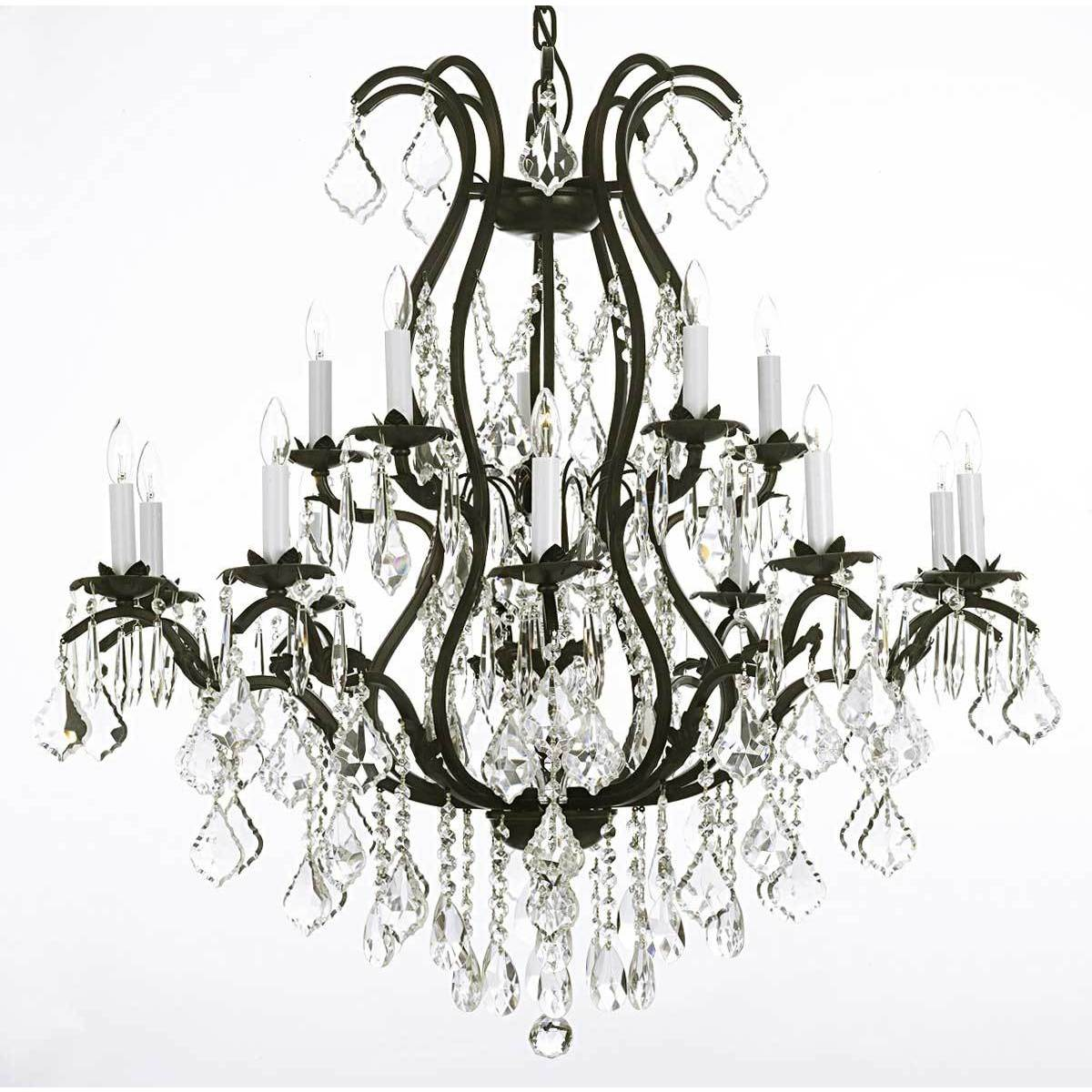 p rococo and iron chandelier crystal versailles black chandeliers light the
