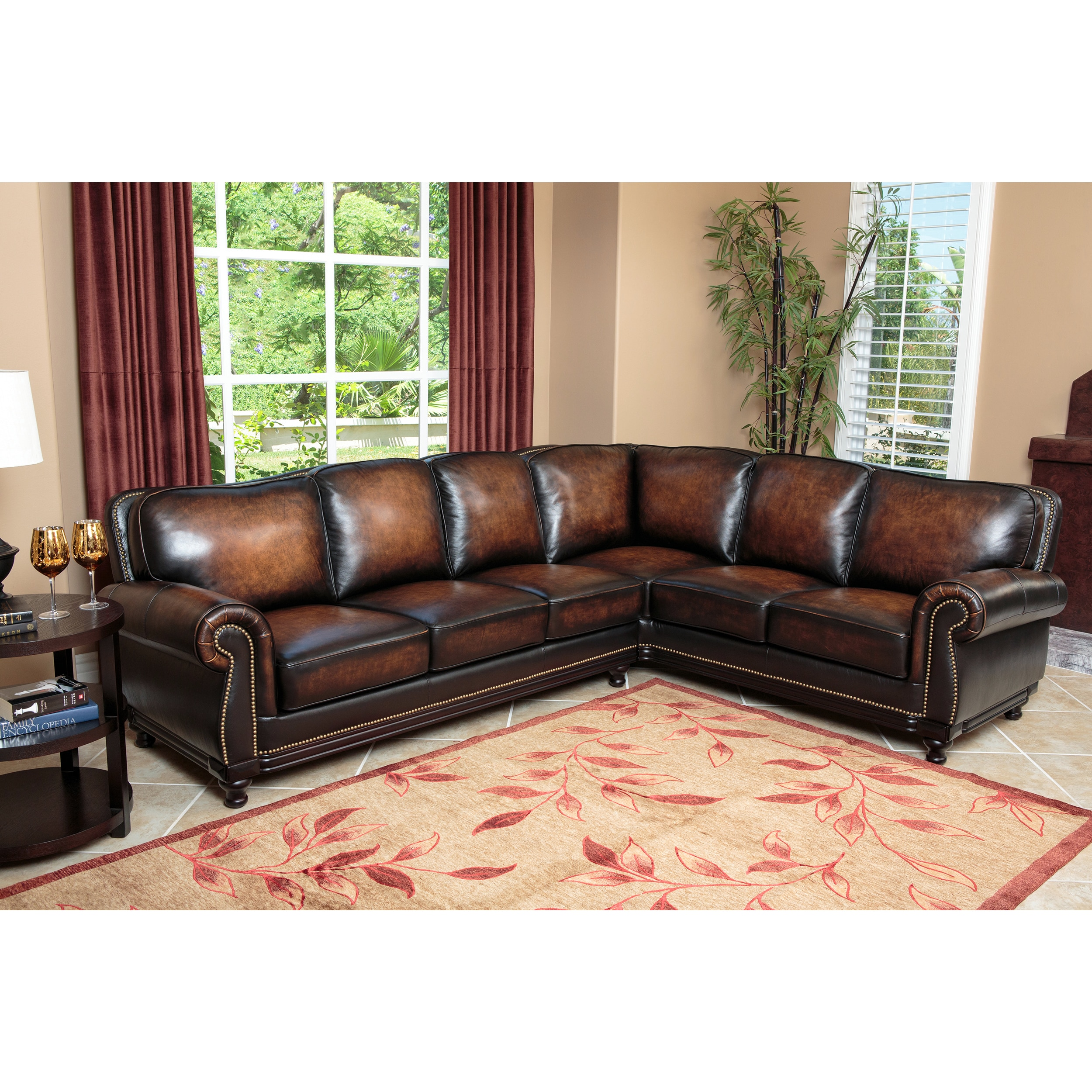Shop Abbyson Palermo Woodtrim Top Grain Leather Sectional Sofa On