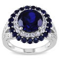 Miadora Silver Created Blue and White Sapphire and Diamond Accent Ring