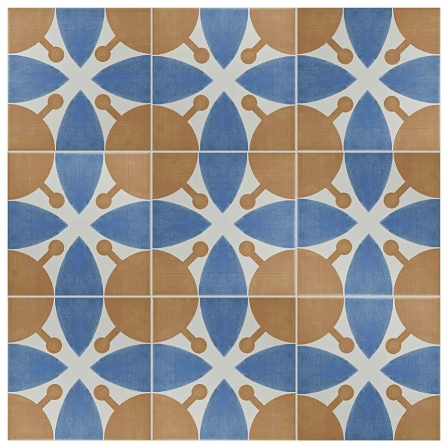 SomerTile 7.75x7.75-inch Renaissance Leaf Ceramic Floor and Wall ...