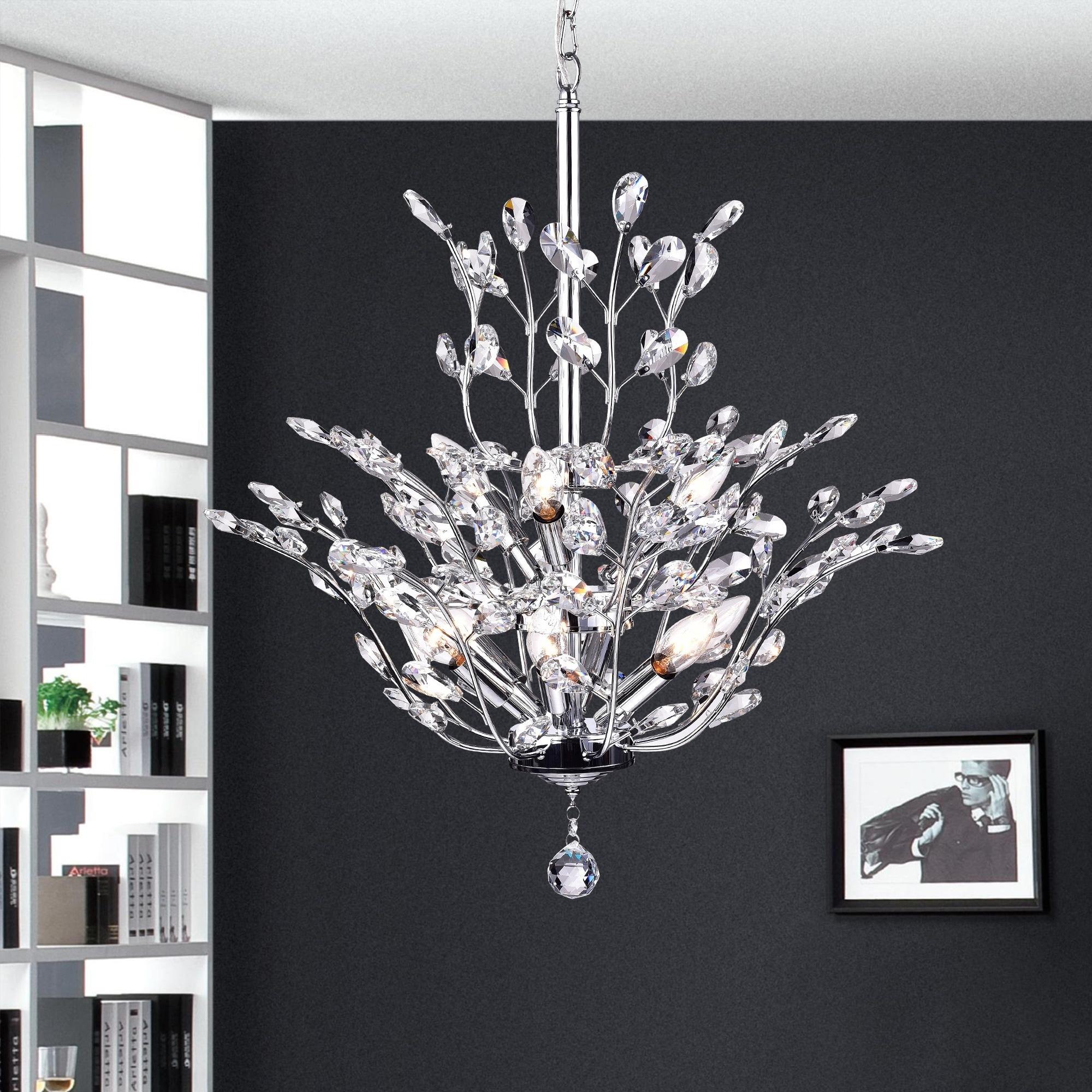 Shop Anastasia Leaf Chandelier Silver