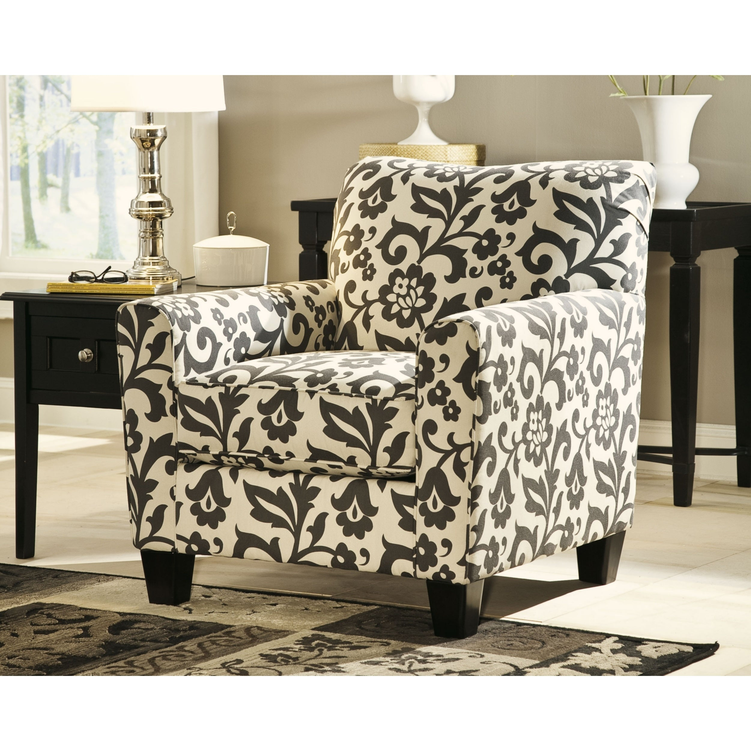 Pleasant Levon Charcoal Floral Print Accent Chair Download Free Architecture Designs Scobabritishbridgeorg