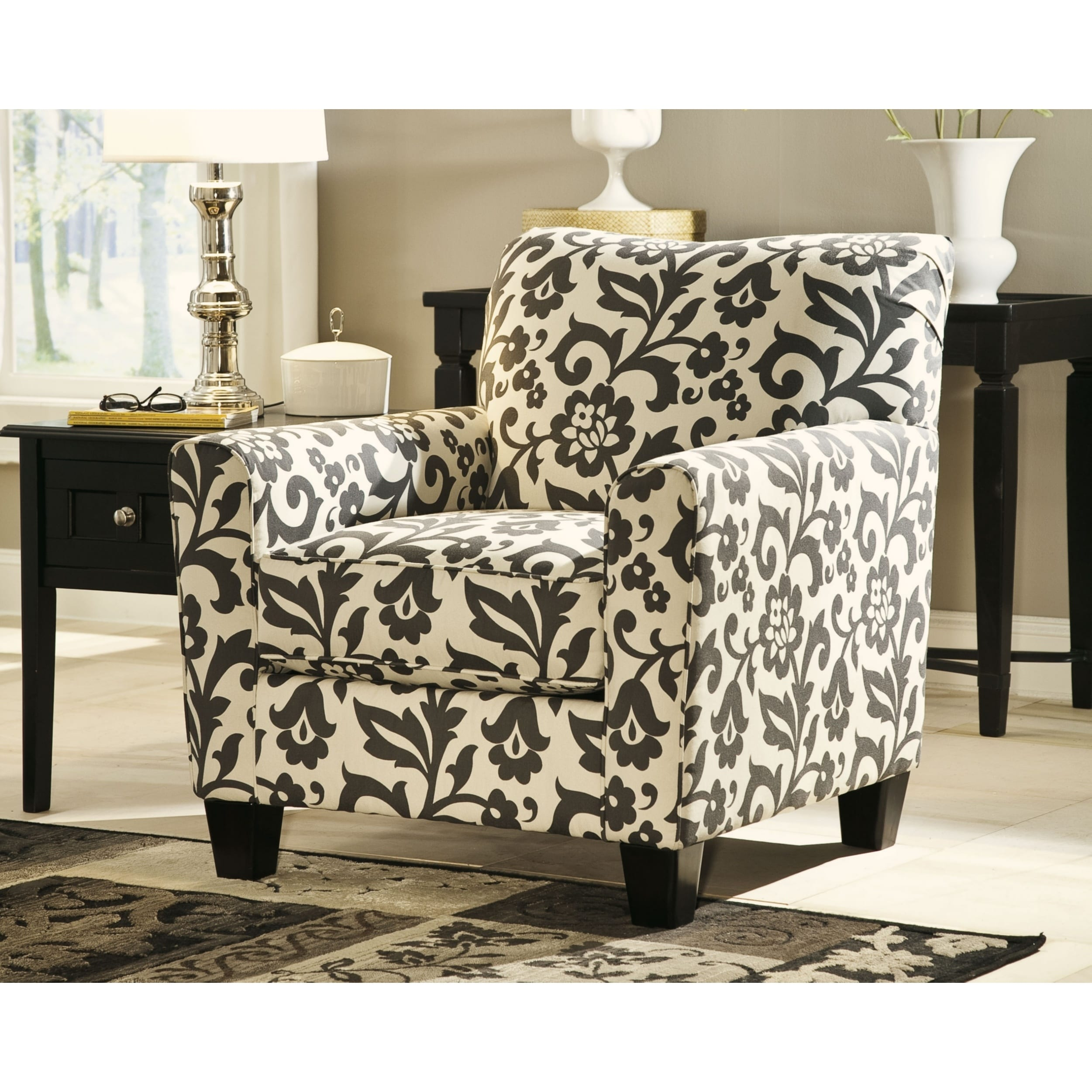 Pleasing Levon Charcoal Floral Print Accent Chair Home Interior And Landscaping Elinuenasavecom
