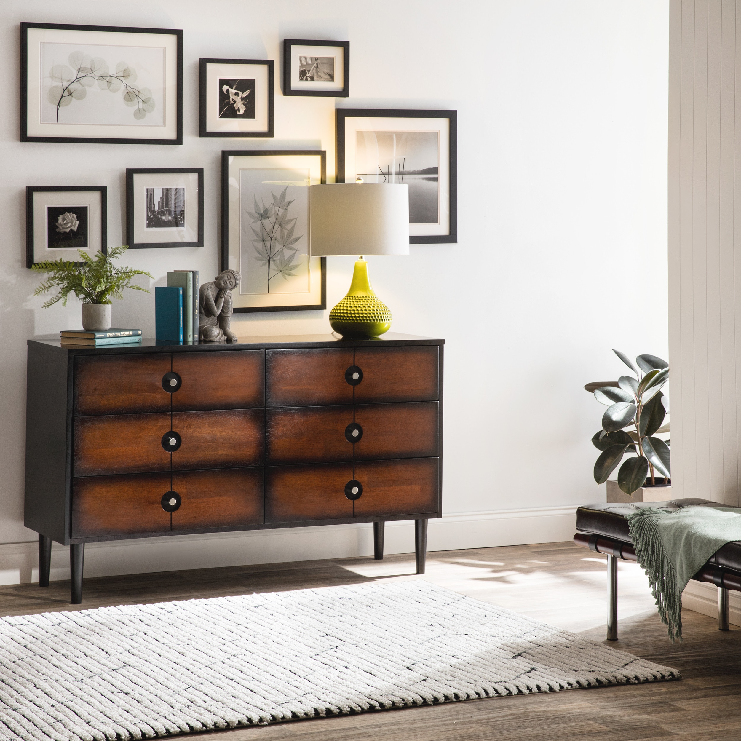 Allen Black And Cherry 6 Drawer Mid Century Style Dresser Free Shipping Today 80005417