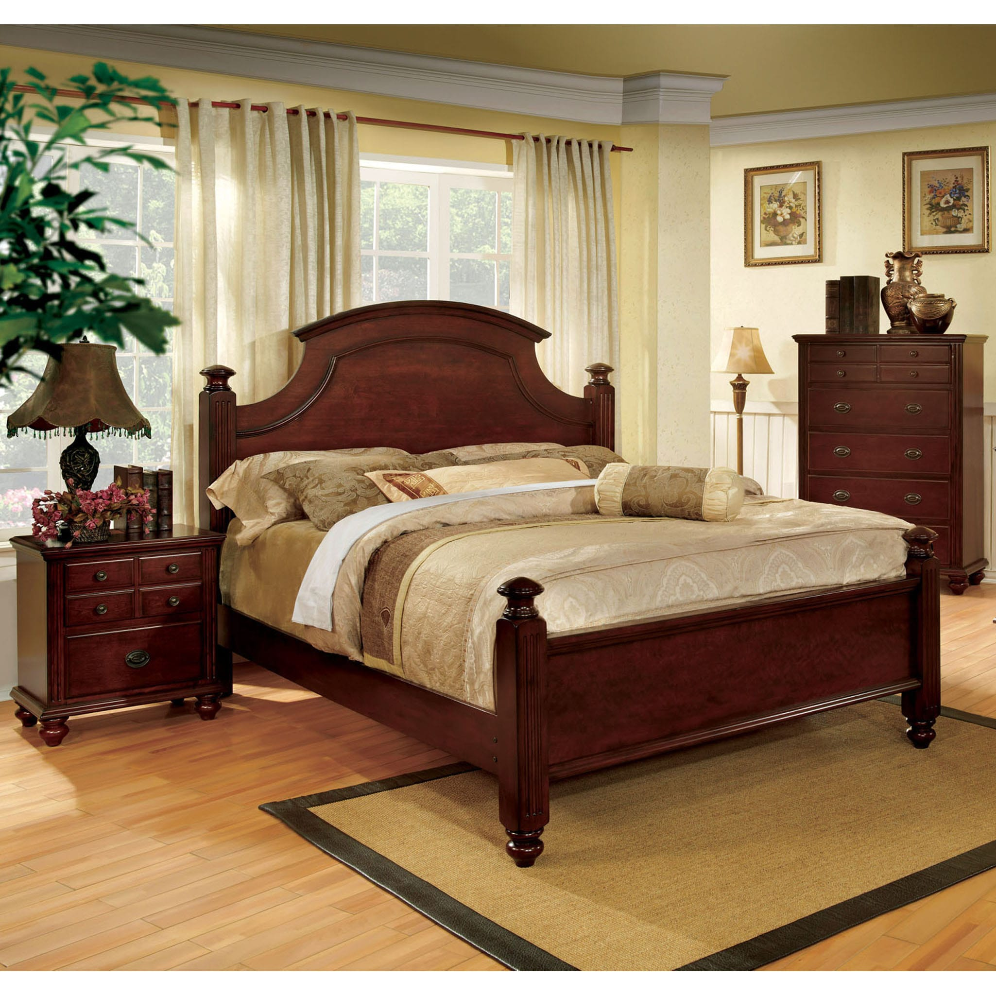 Shop furniture of america european style cherry four poster bed on sale free shipping today overstock com 9237360