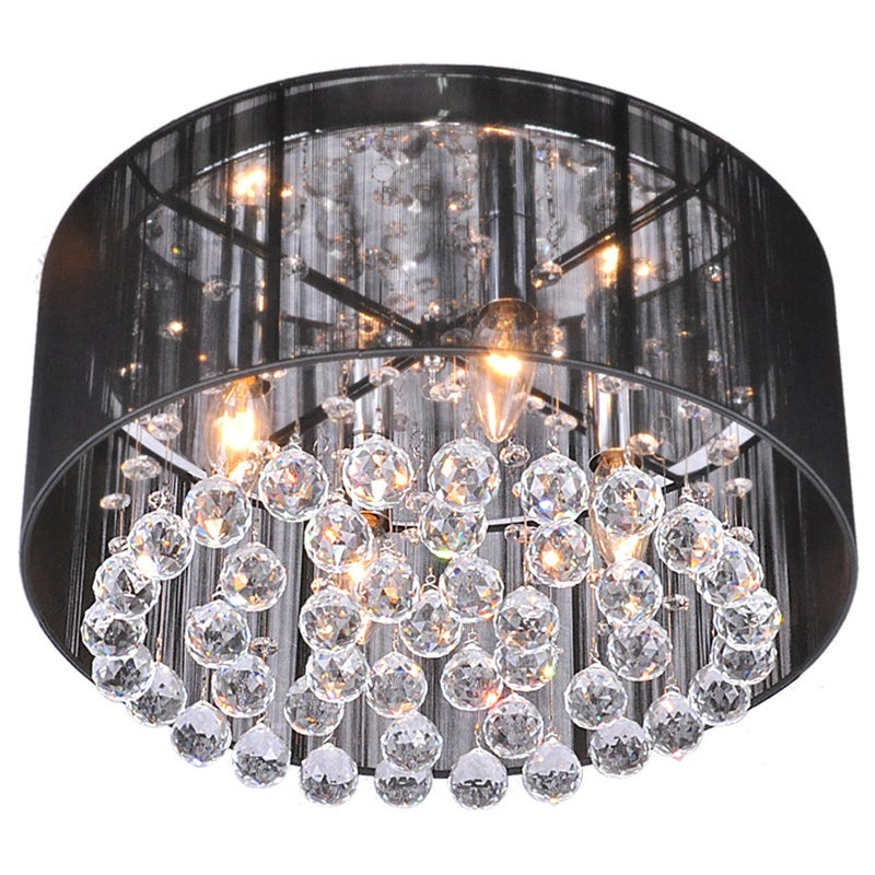 Silver Orchid Taylor 4 Light Black Shade Chrome Crystal Flushmount Chandelier Free Today Com 20254026