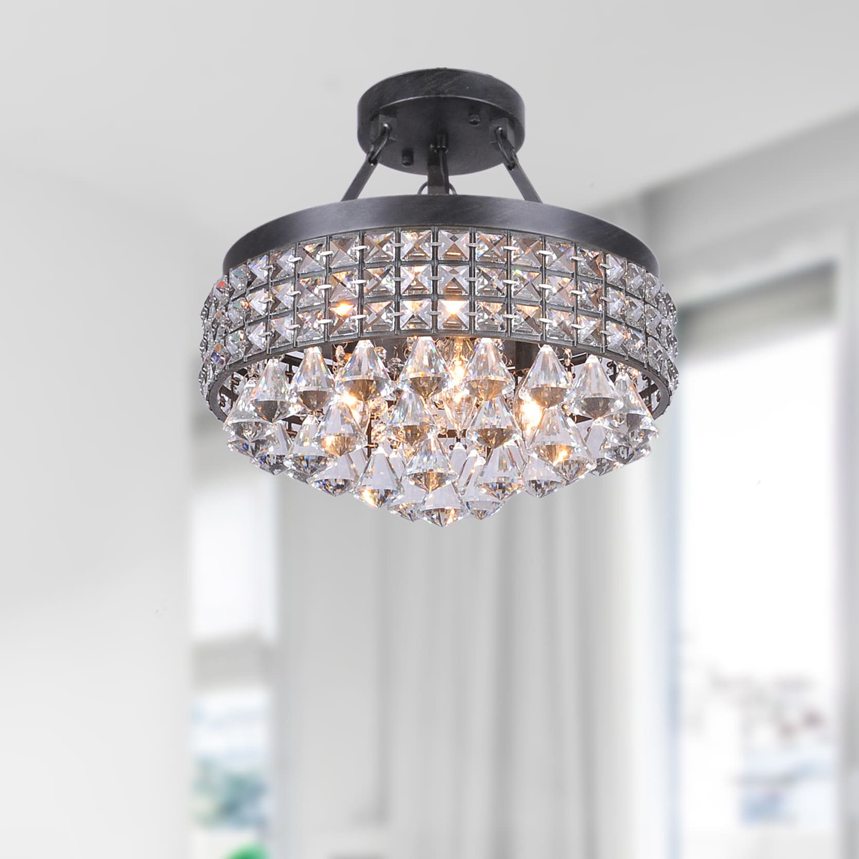 antonia light crystal semiflush mount chandelier with antique black ironshade  free shipping today  overstockcom  . antonia light crystal semiflush mount chandelier with antique