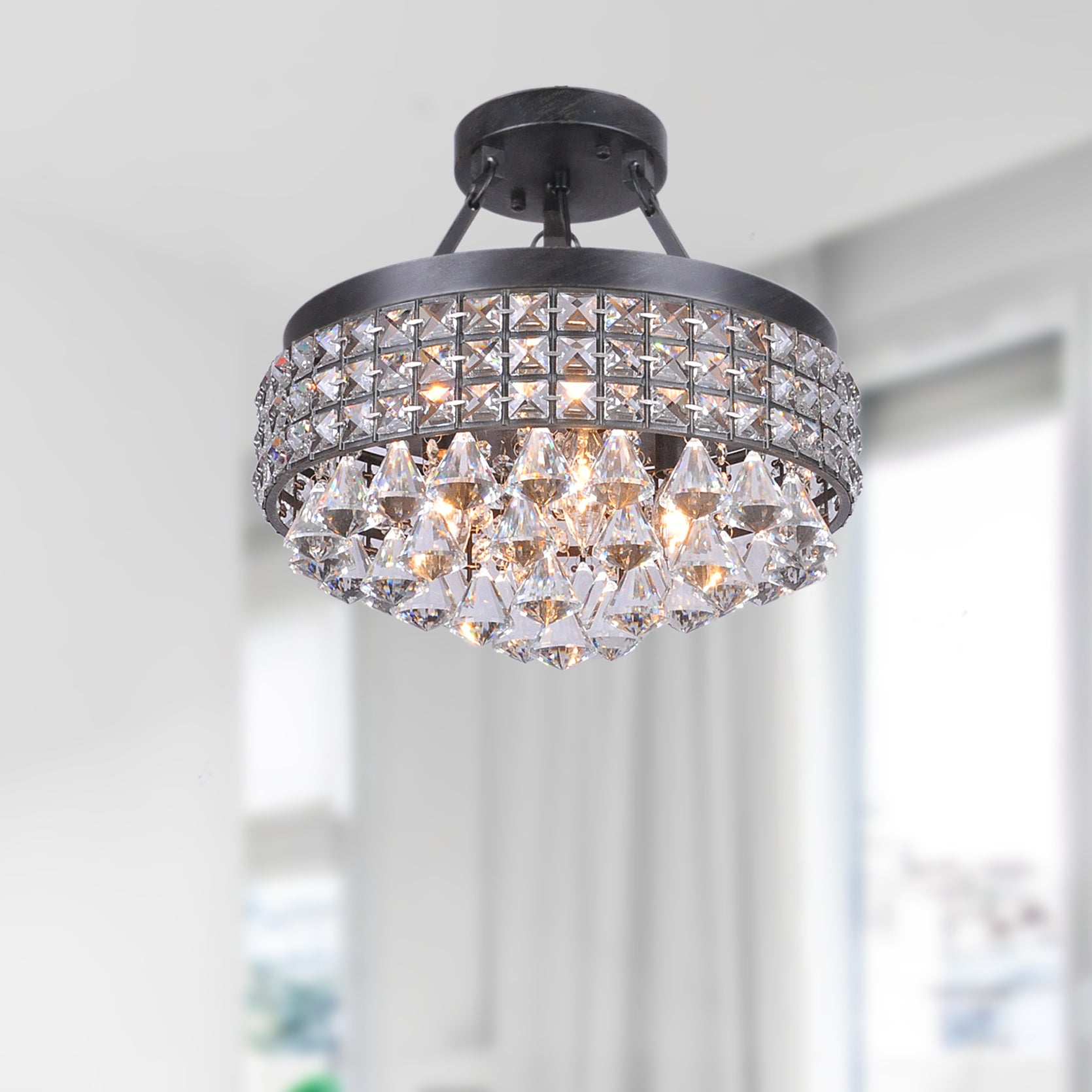 Antonia 4 light Crystal Semi flush Mount Chandelier with Antique
