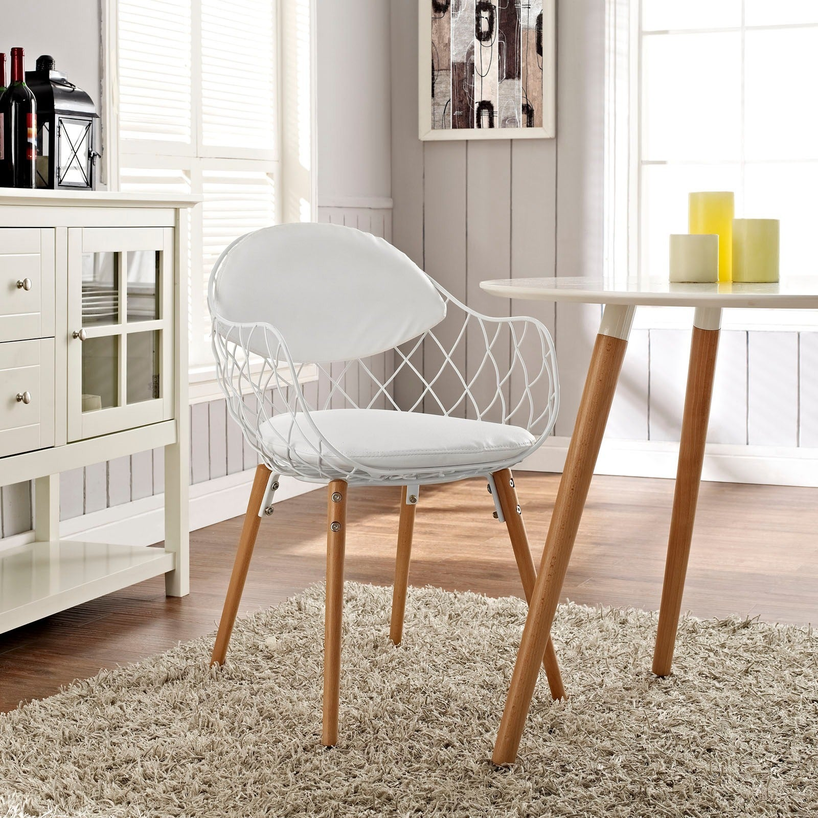 Shop Basket Metal White Dining Mid Century Style Chair   On Sale   Free  Shipping Today   Overstock.com   9238463