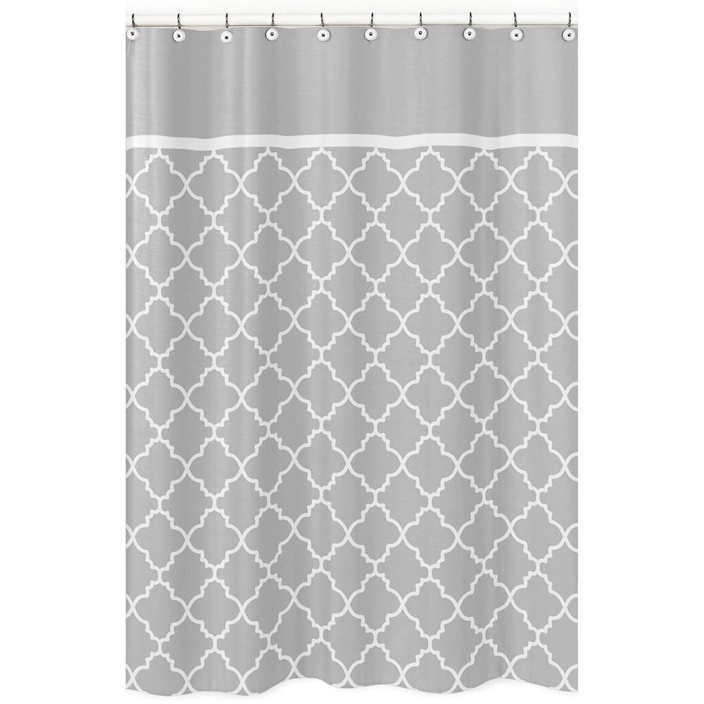 Shop Sweet Jojo Designs Grey White Trellis Shower Curtain