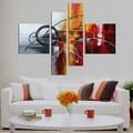 Hand-painted 'Abstract540' 4-piece Gallery-wrapped Canvas Art Set