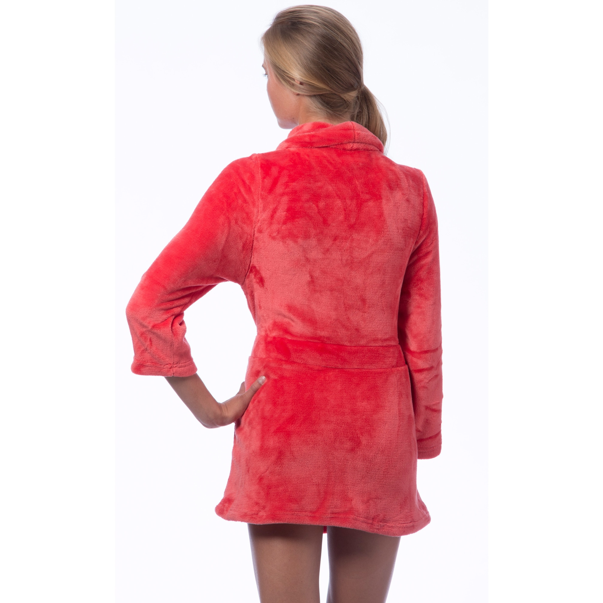 7d2e64db7f Shop Short Plush Self-belt Robe - Free Shipping On Orders Over  45 -  Overstock - 9239749